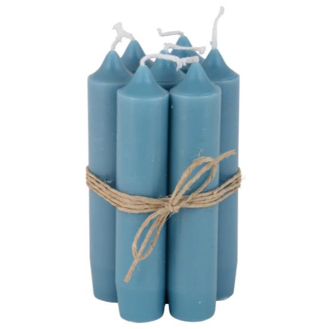 Small Petrol Blue Dinner Candle