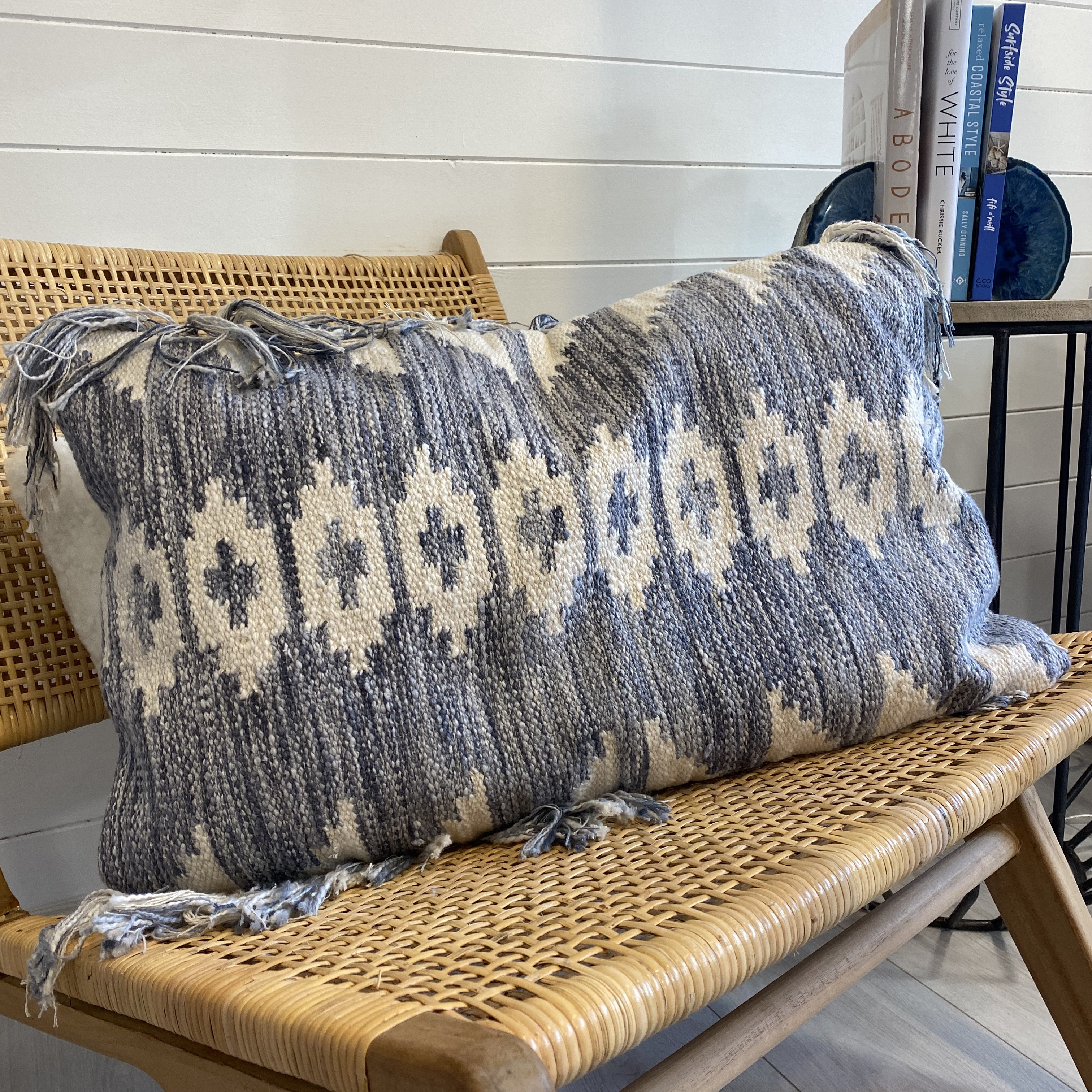 Blue And Cream Aztec Fringed Cushion