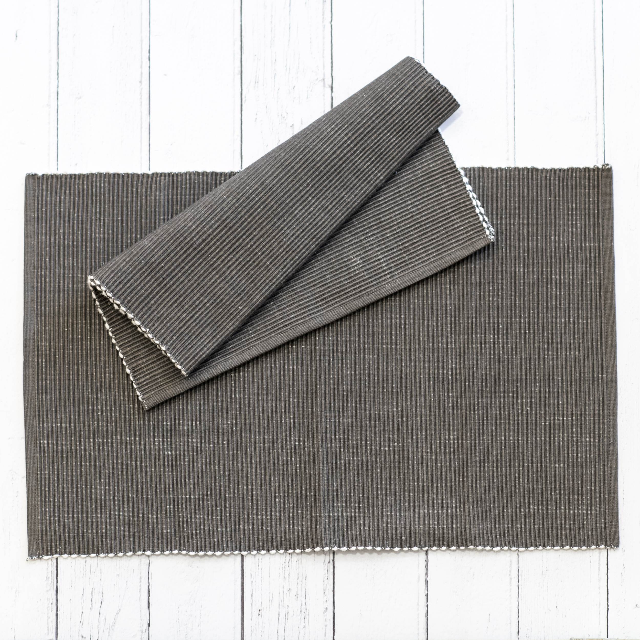 Ribbed Grey Placemat - Set of 2