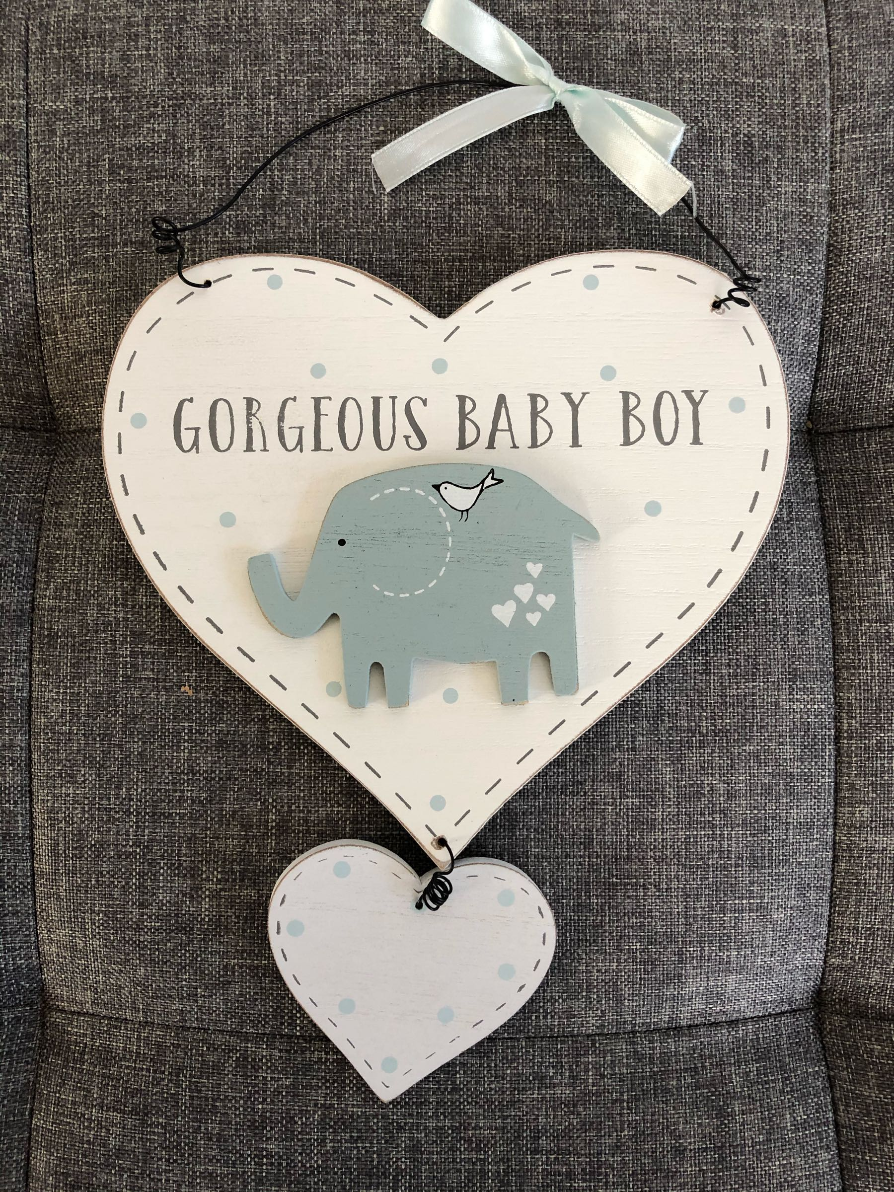 Baby plaque - name can be engraved onto heart