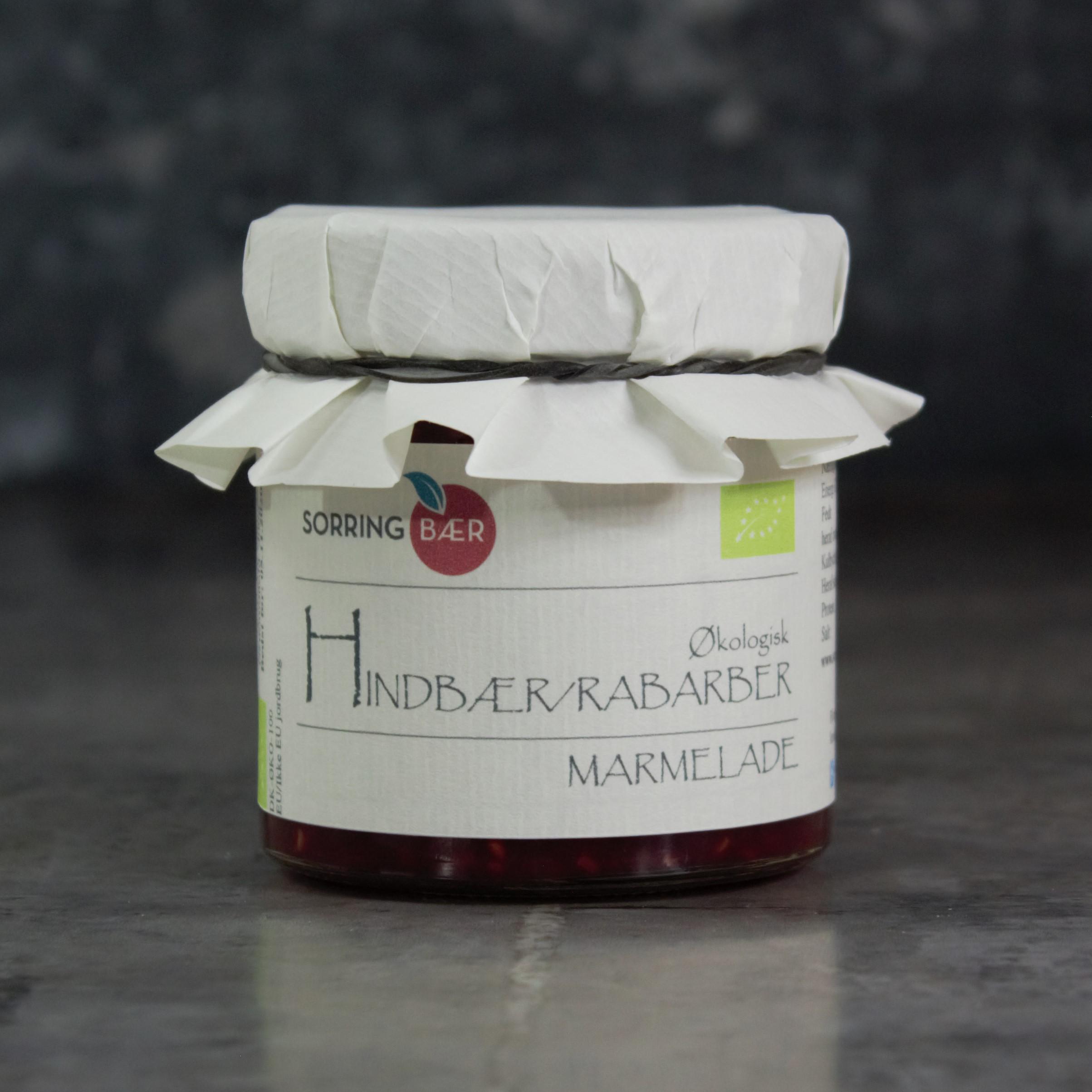 Økologisk hindbær/rabarbermarmelade
