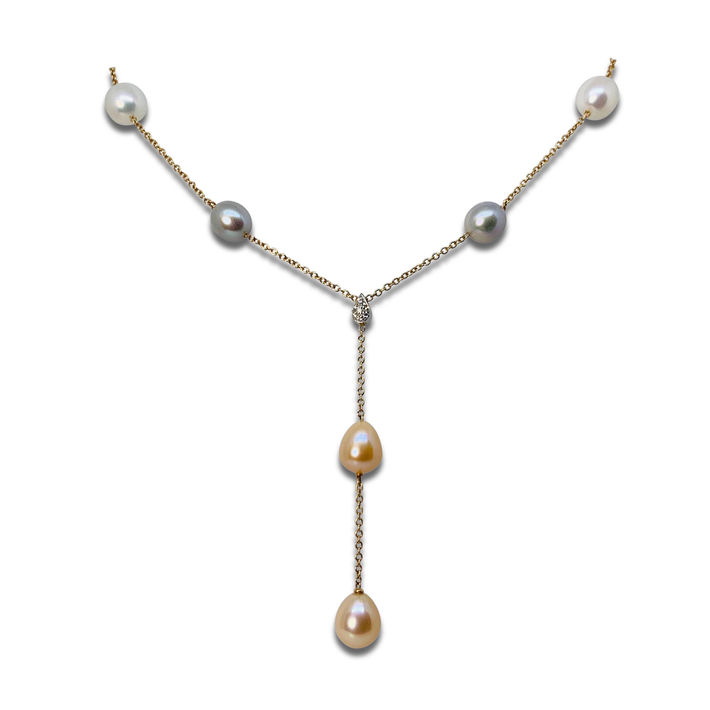Collier Guld pärlor Diamanter