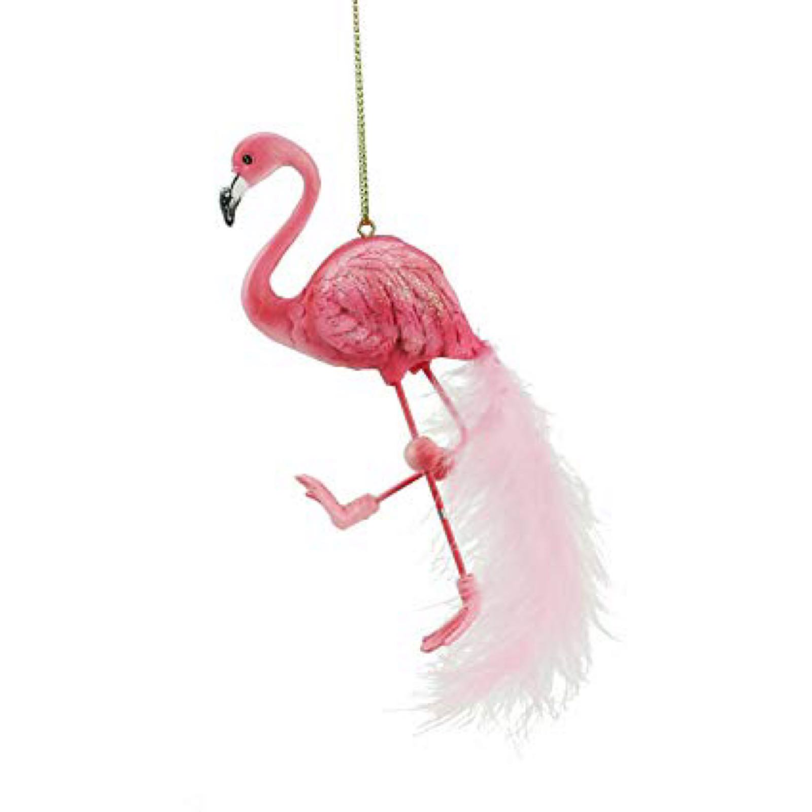 Flamingo resin decoration with feathers
