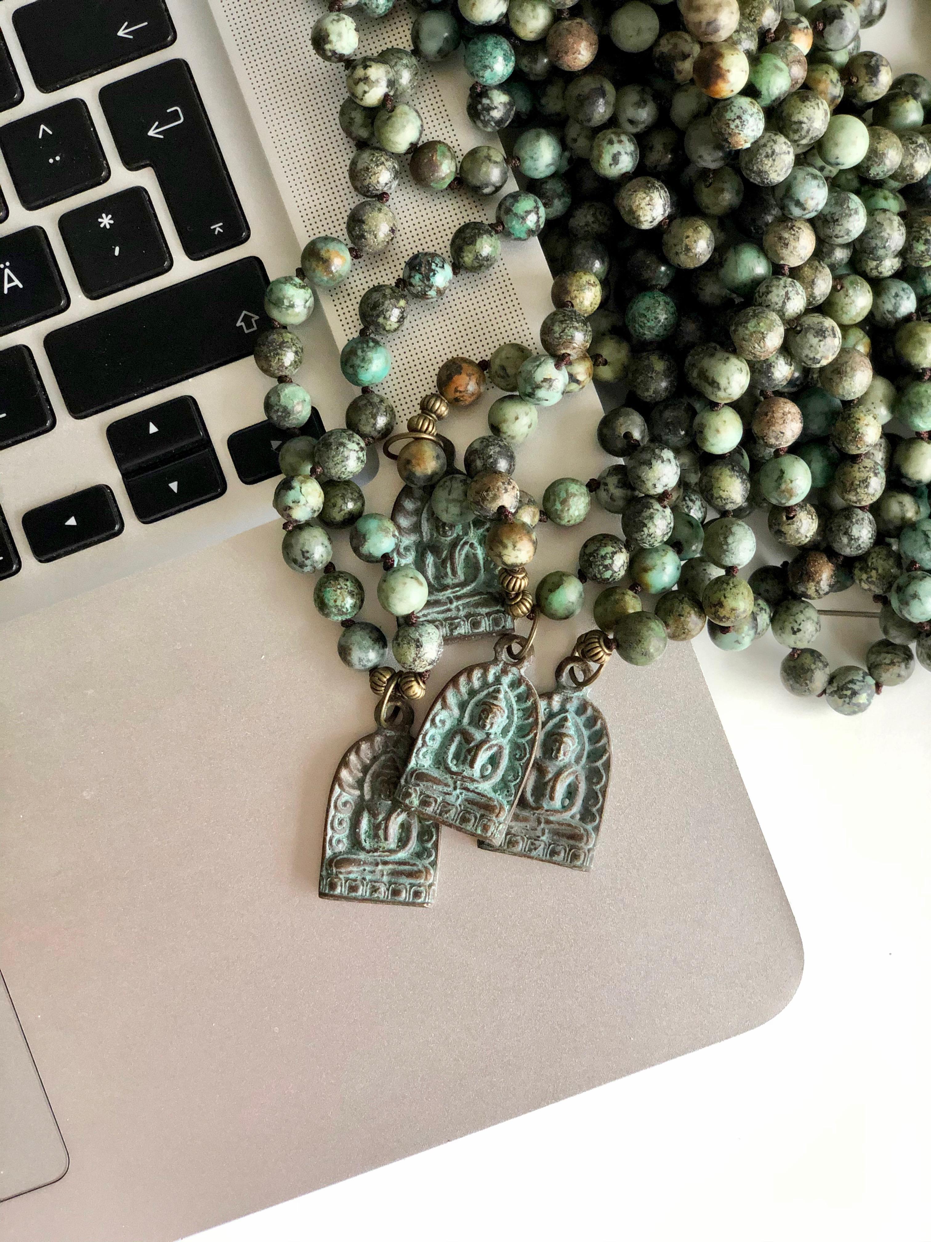 13- MALA green patina amulet
