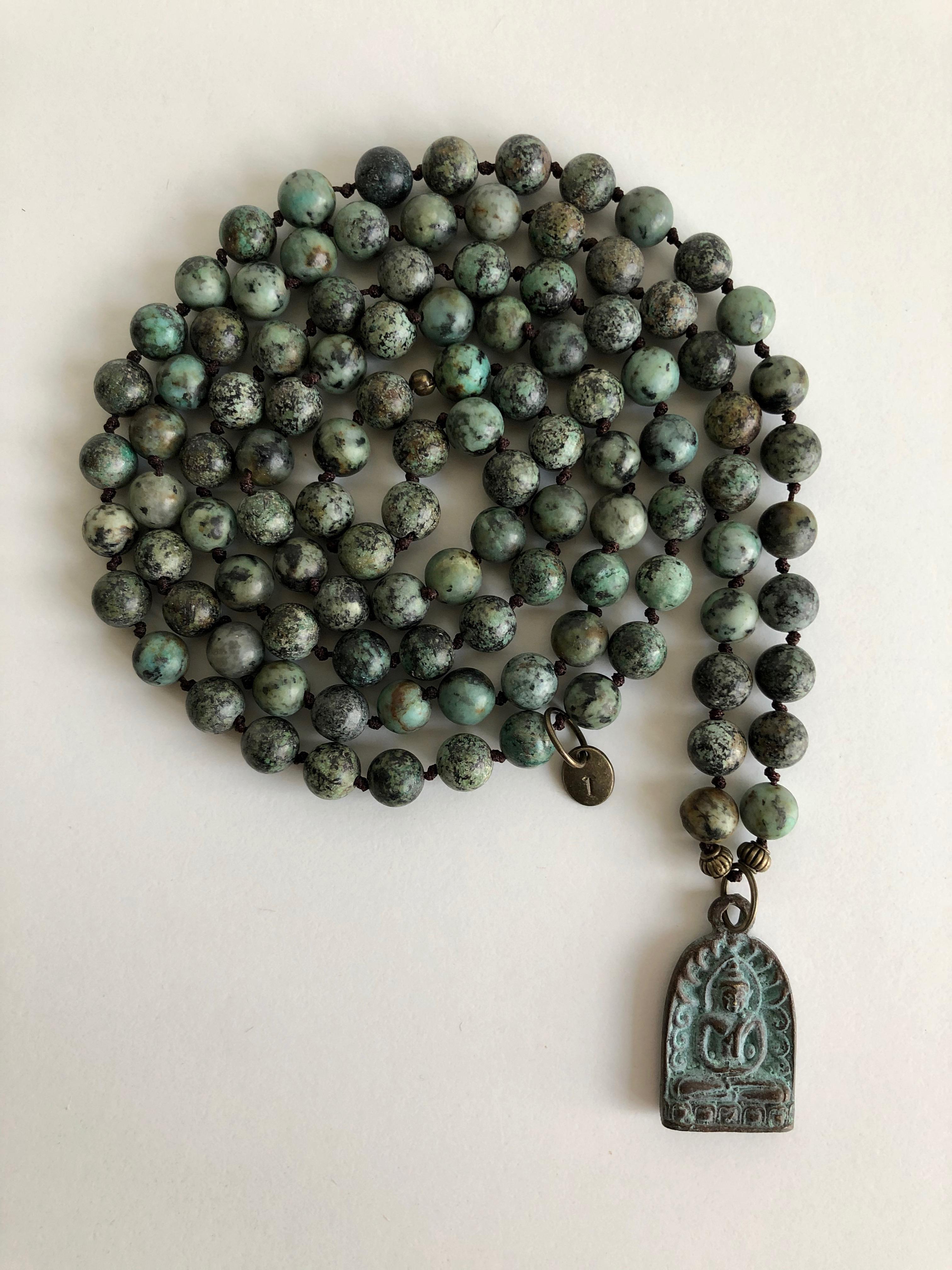 11- MALA green patina amulet