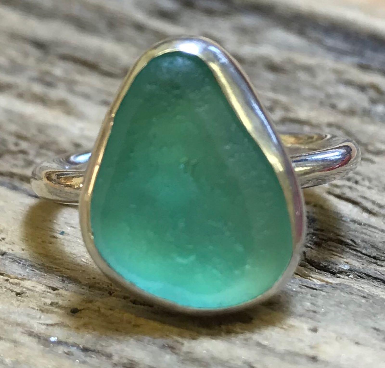 RE203 Seaham Multi Sea Green/Sage Green Sea Glass Ring UK K ½