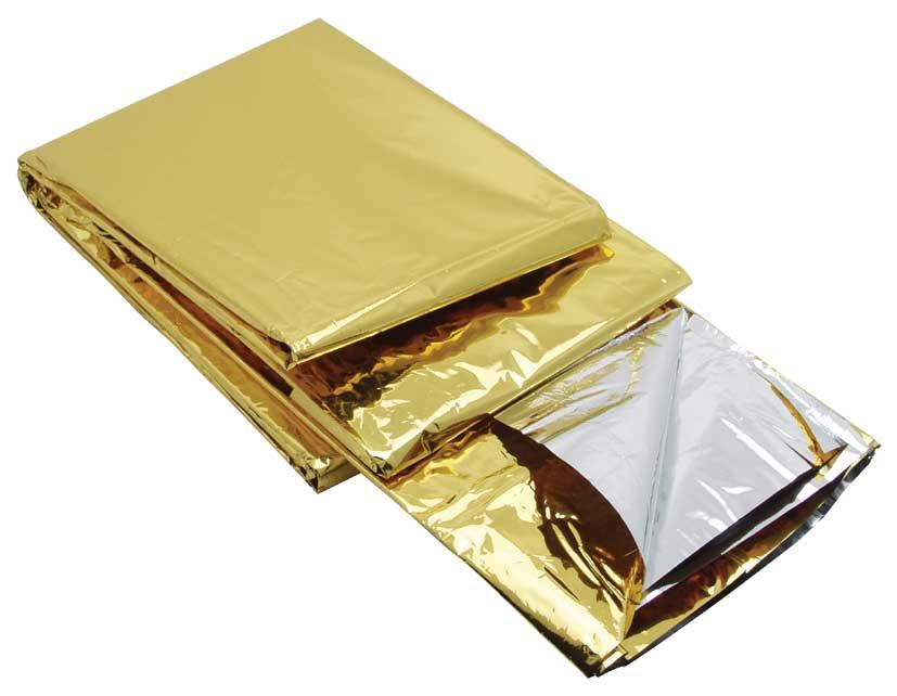 Redningstæppe, Guld/Sølv, MYLAR, NASA