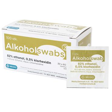 Alkoholswab, 82% ethanol, 0,5% klorhexidin.