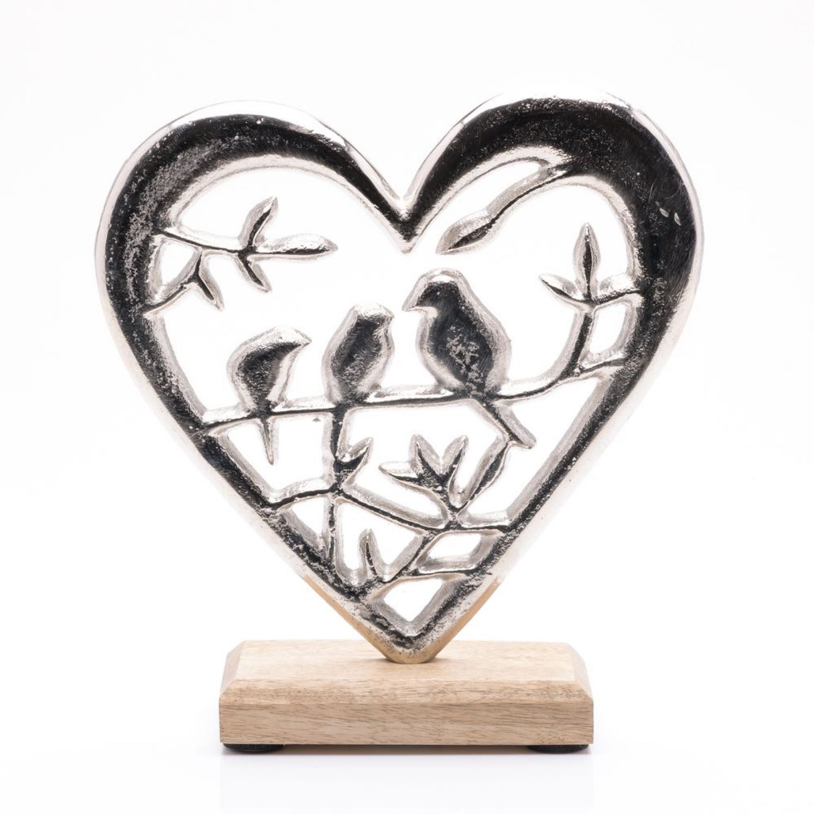 Metal Heart  & Love Birds Ornament 20cm