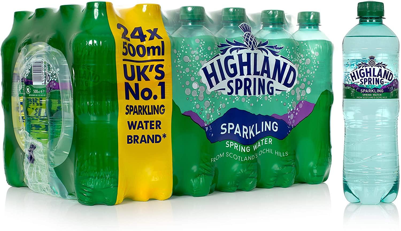 Bulk Buy Highland Spring Sparkling Water 24 x 500ml