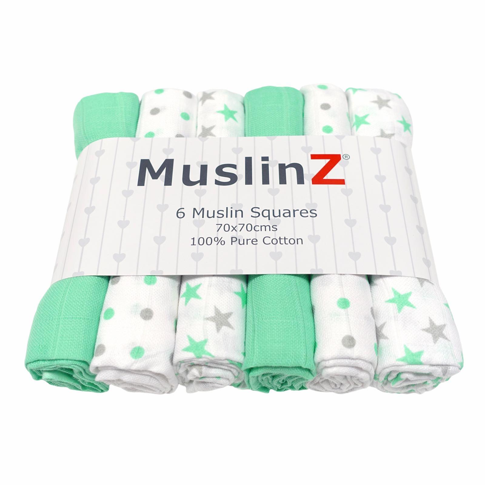 MuslinZ - 6 pack muslin squares - Mint Star combo