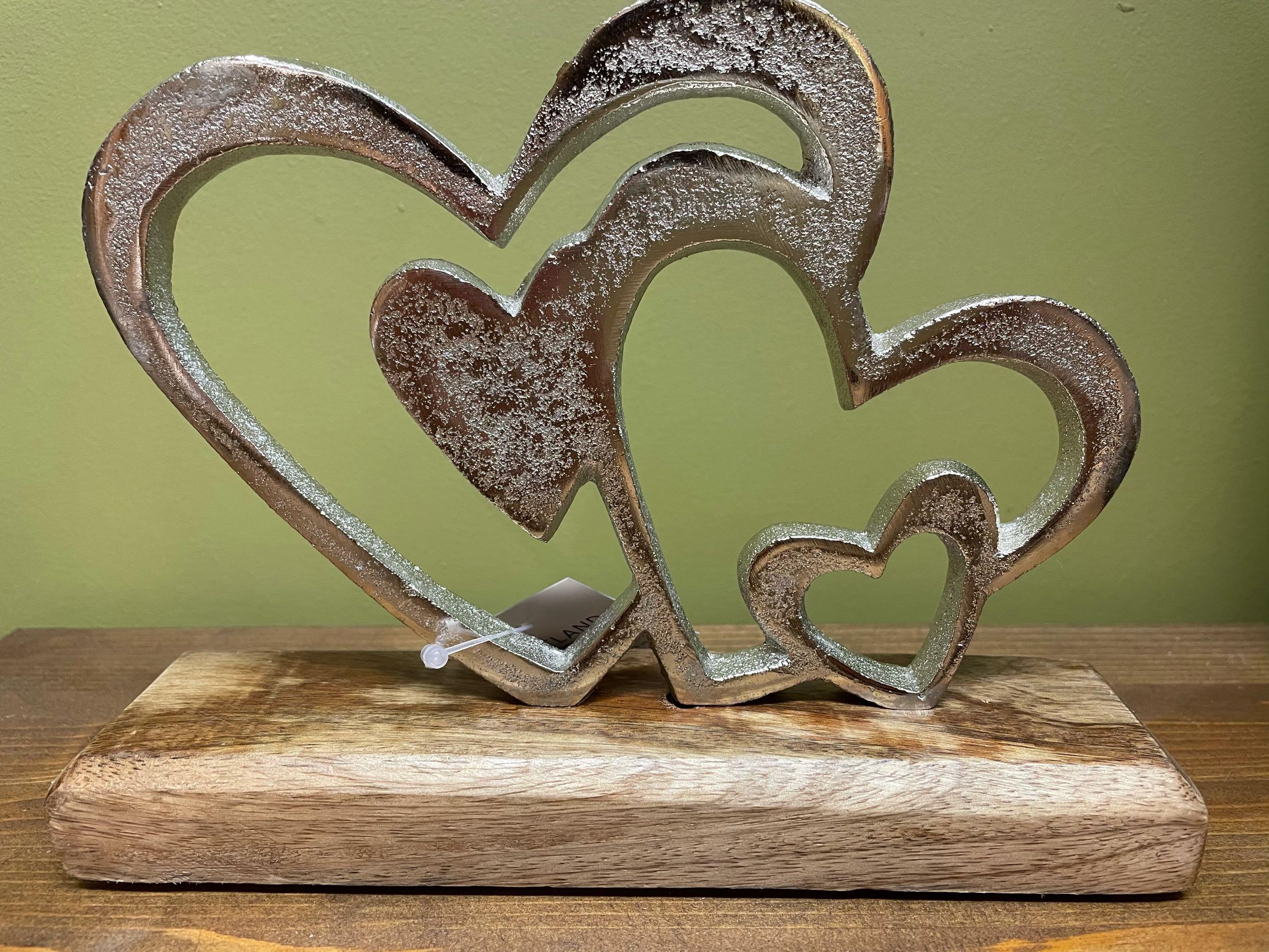 Multi heart ornament on block  16cm height