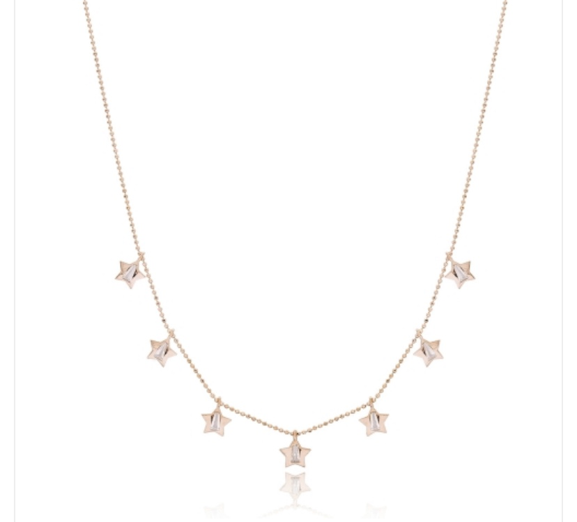 Rose Gold and Crystal Stars Necklace