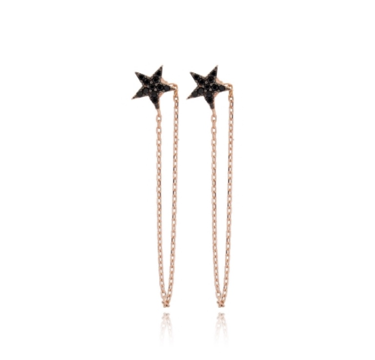 Black star chain earring