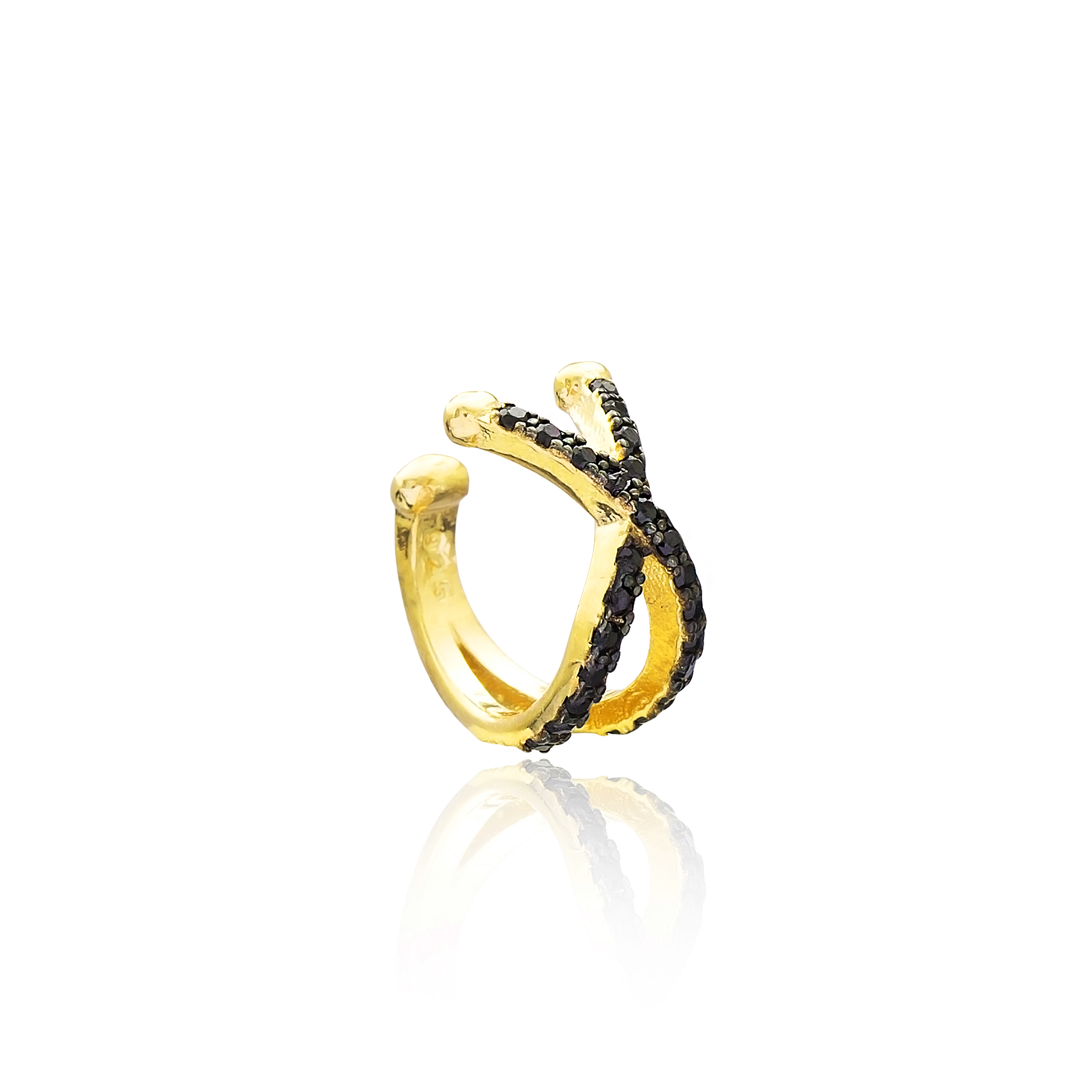 Black Ear Cuff - Yellow Gold