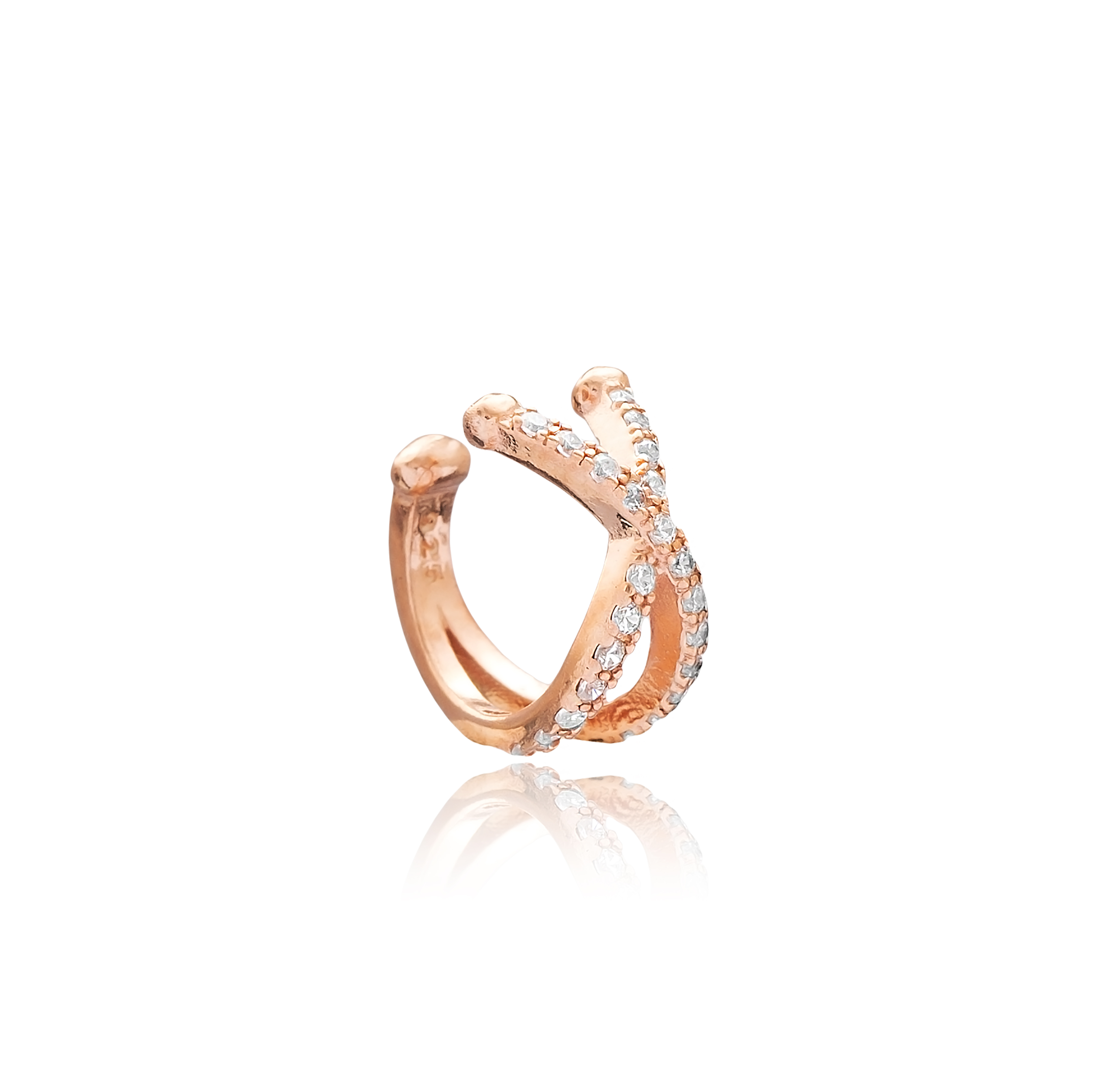 White Ear Cuff - Rose Gold