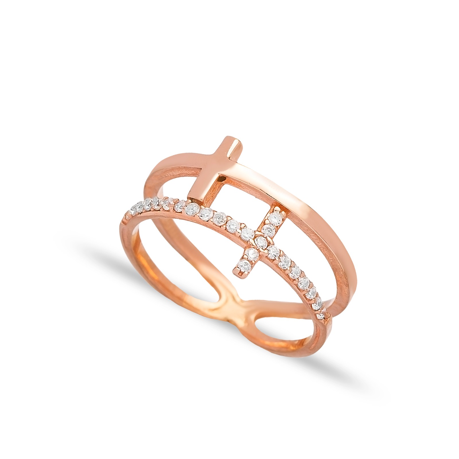 Double T Ring White CZ Rose Gold