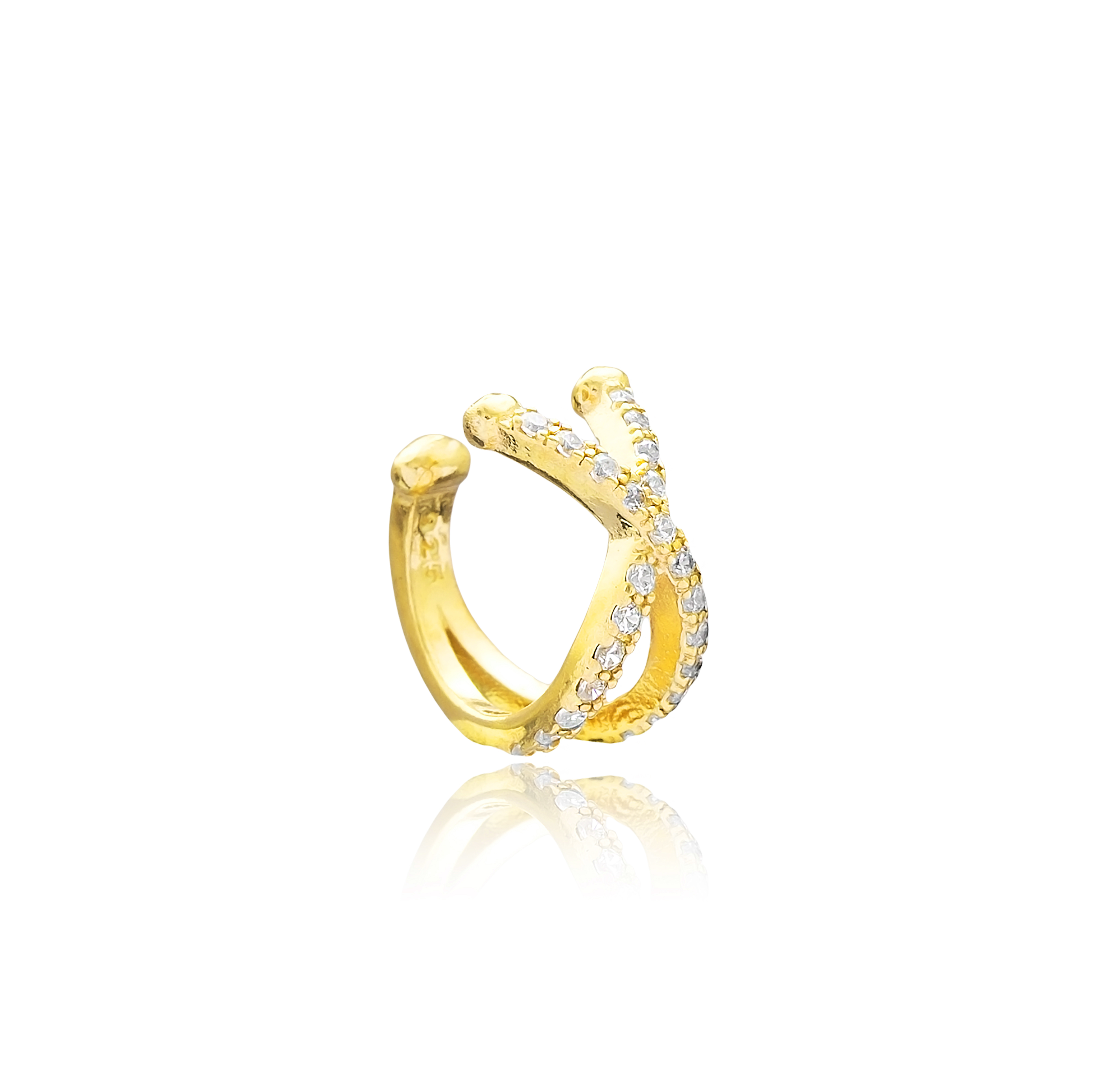 White Ear Cuff - Yellow Gold