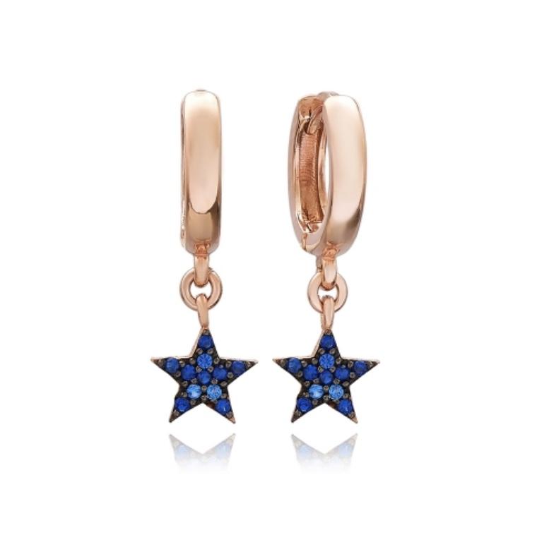 Blue star earrings  rose gold