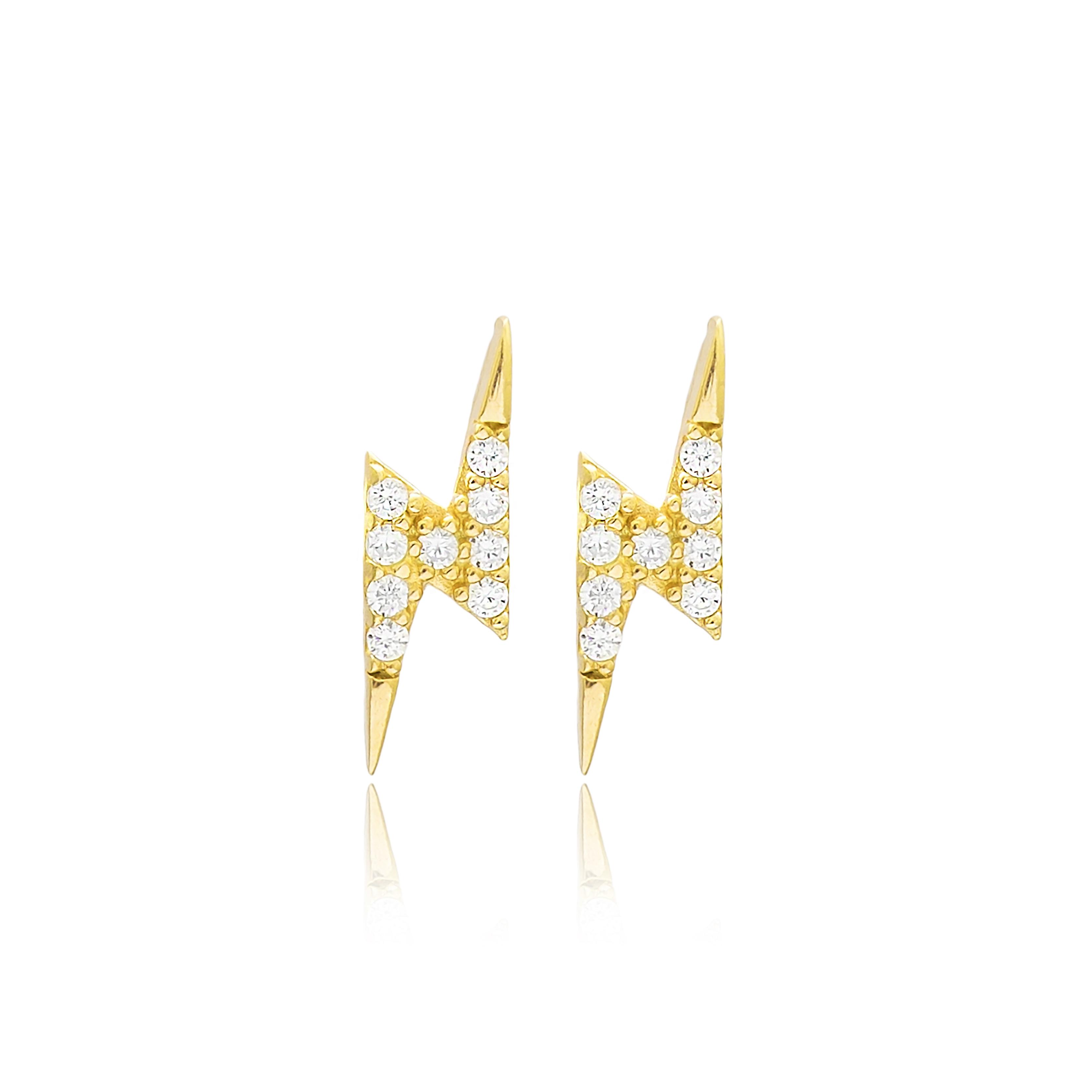 Lightning Earrings White - Yellow Gold