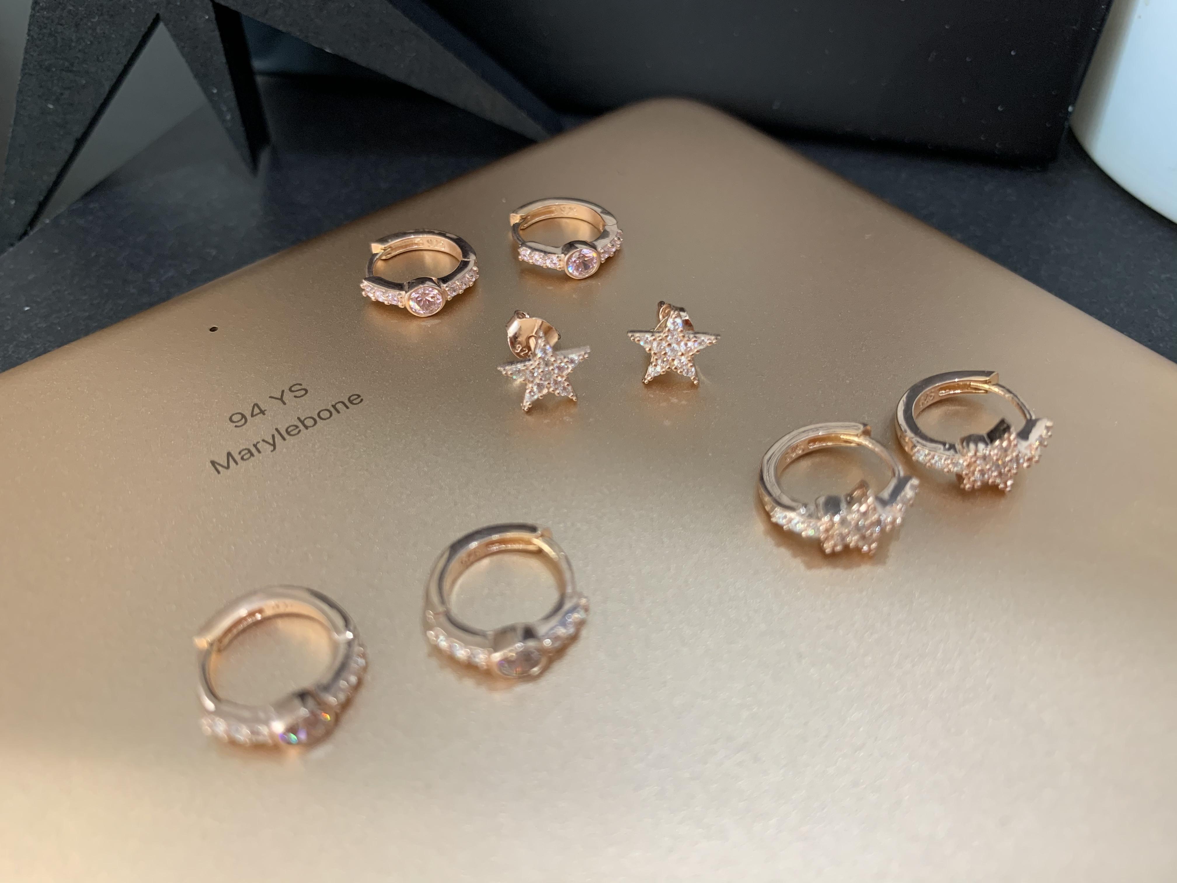 Single star earrings White Star Rose Gold