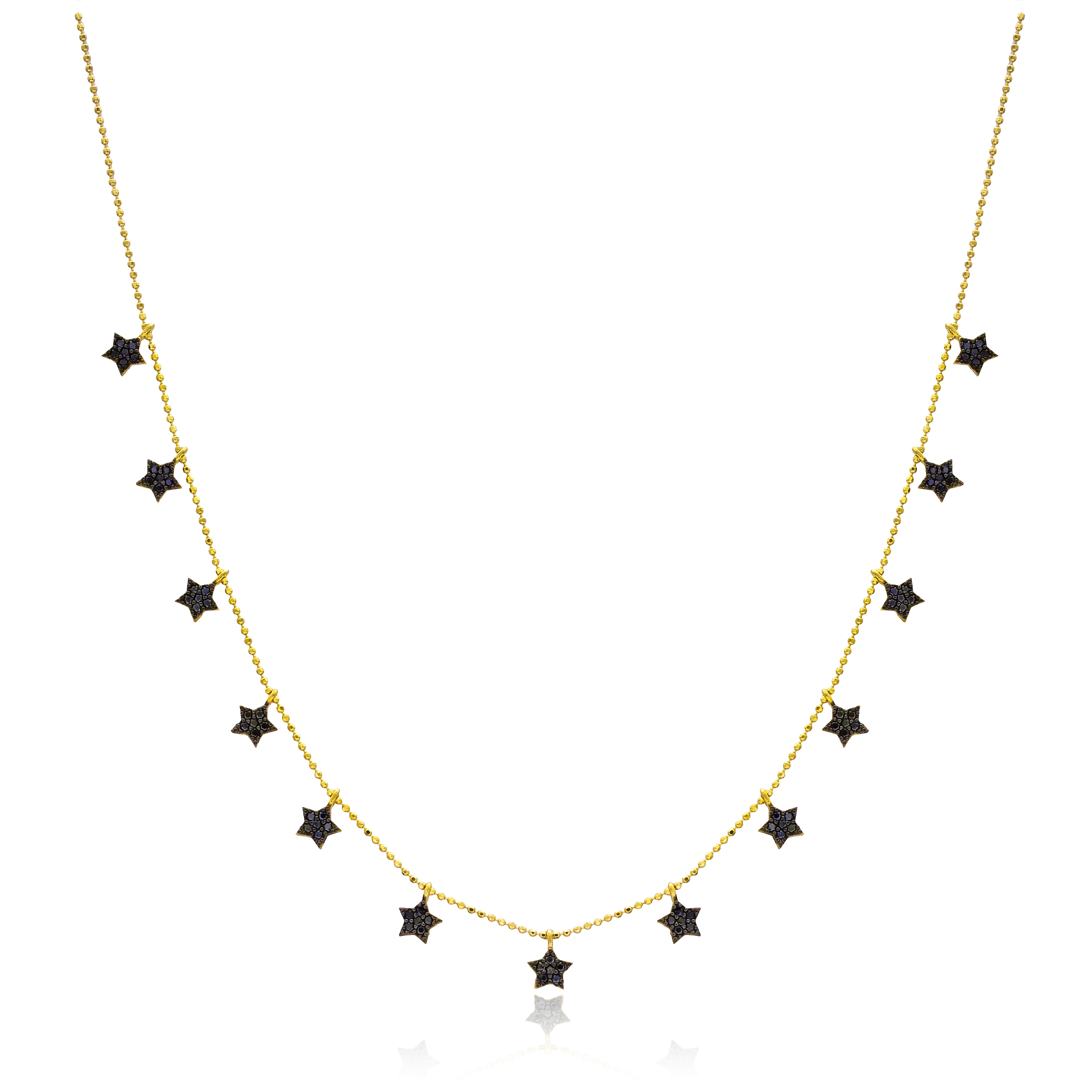 Black star necklace with gold chain