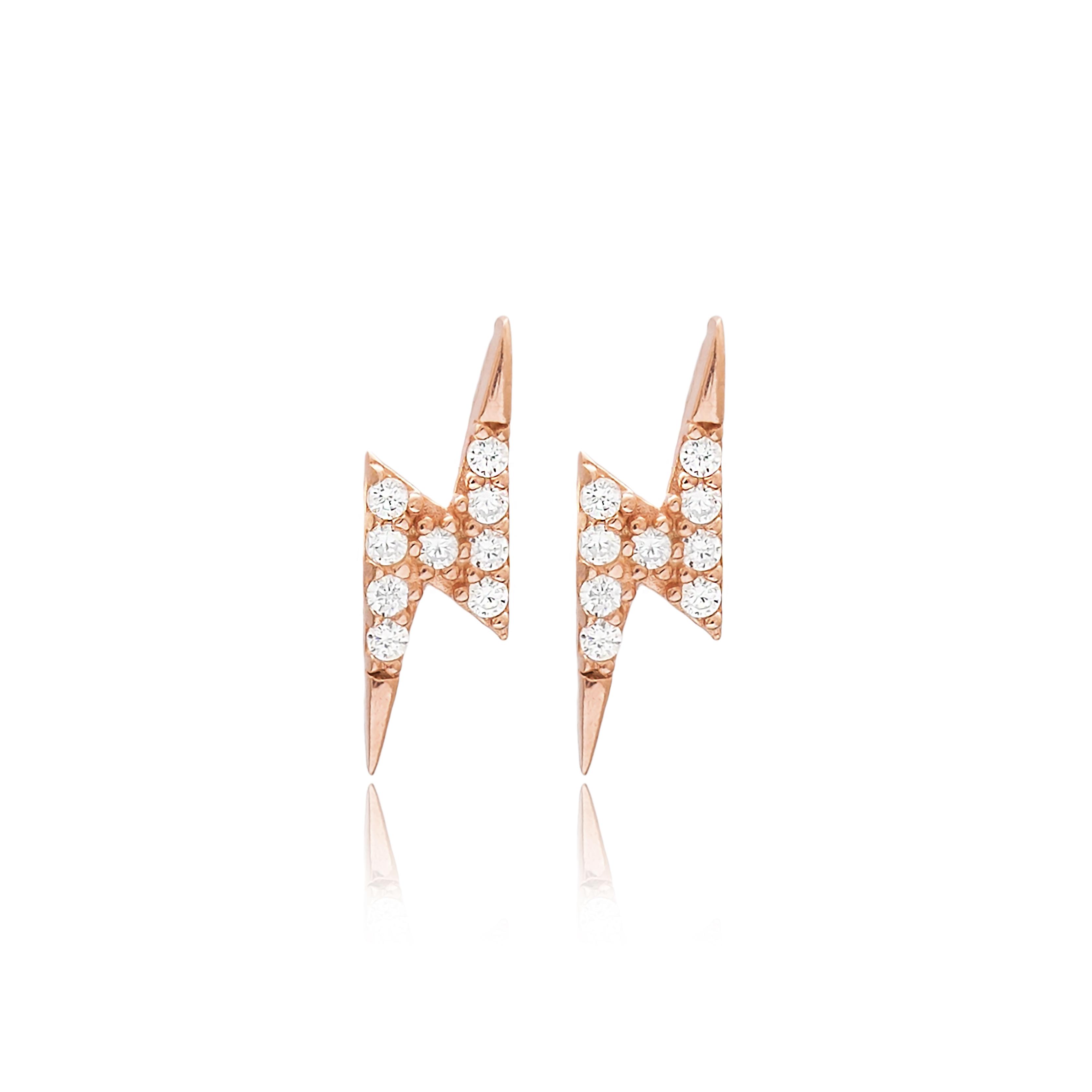 Lightning Earrings White - Rose Gold