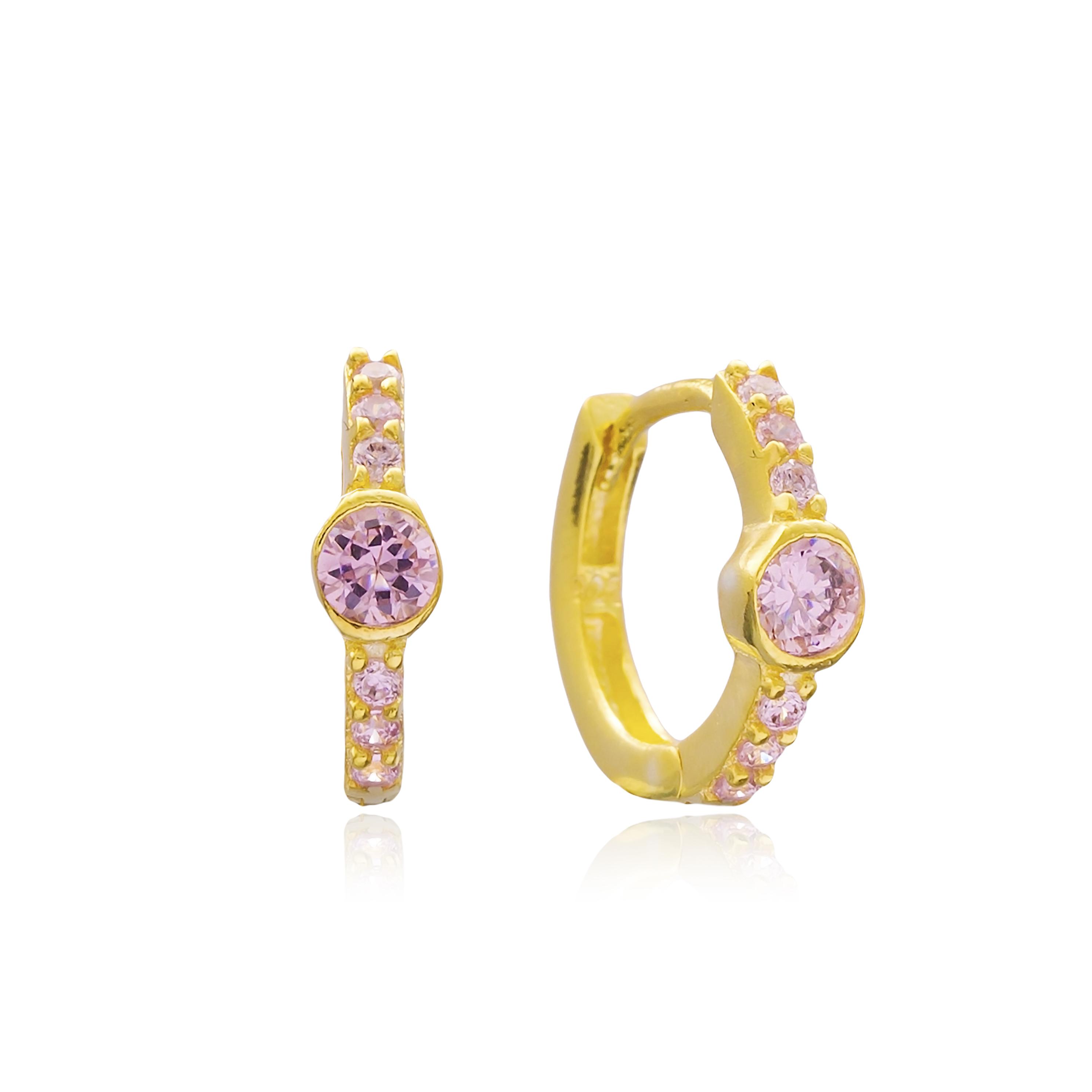 Cristina Mini Hoop Earrings Rose Gold Pink Stone