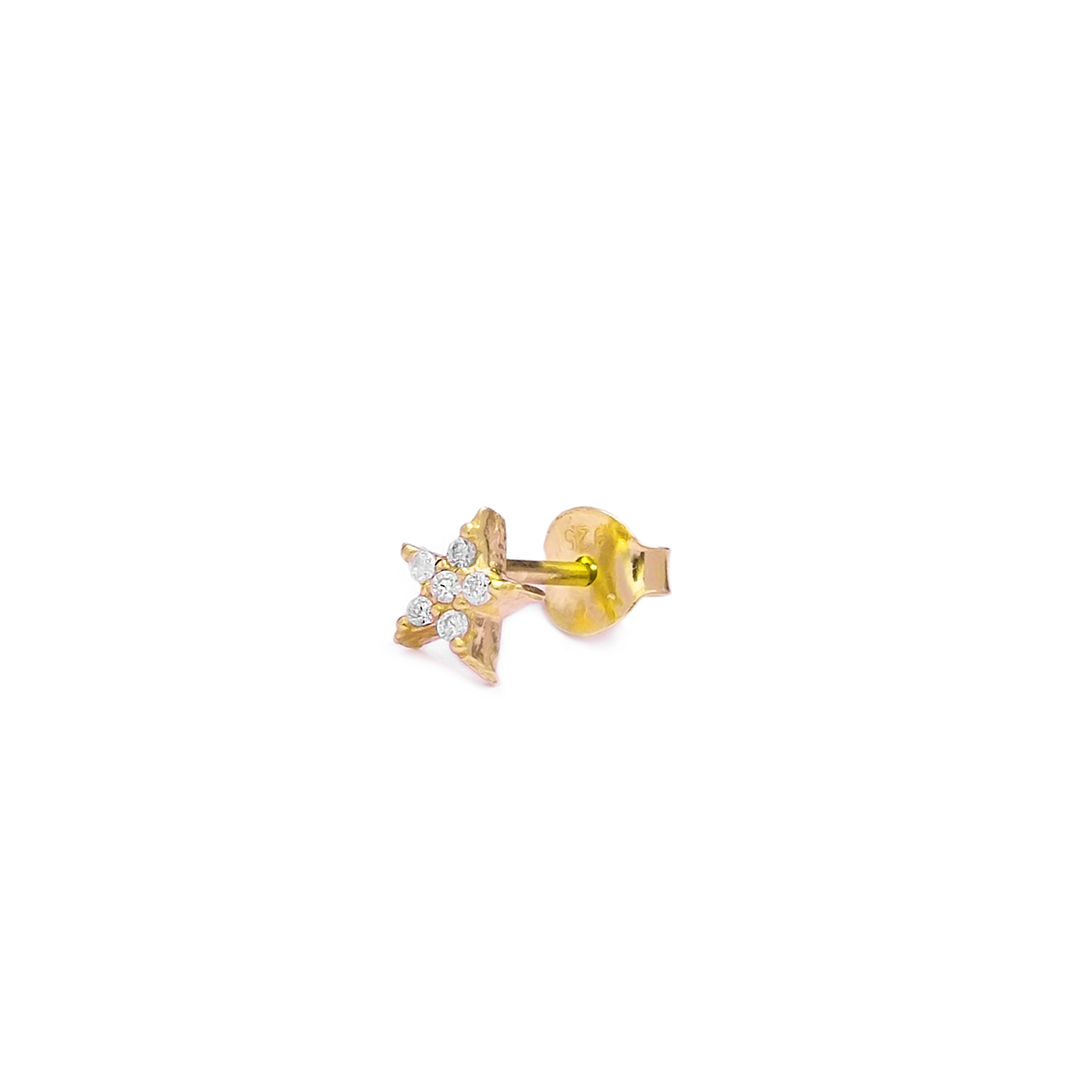 M&M Single Star Earrings White - Yellow Gold