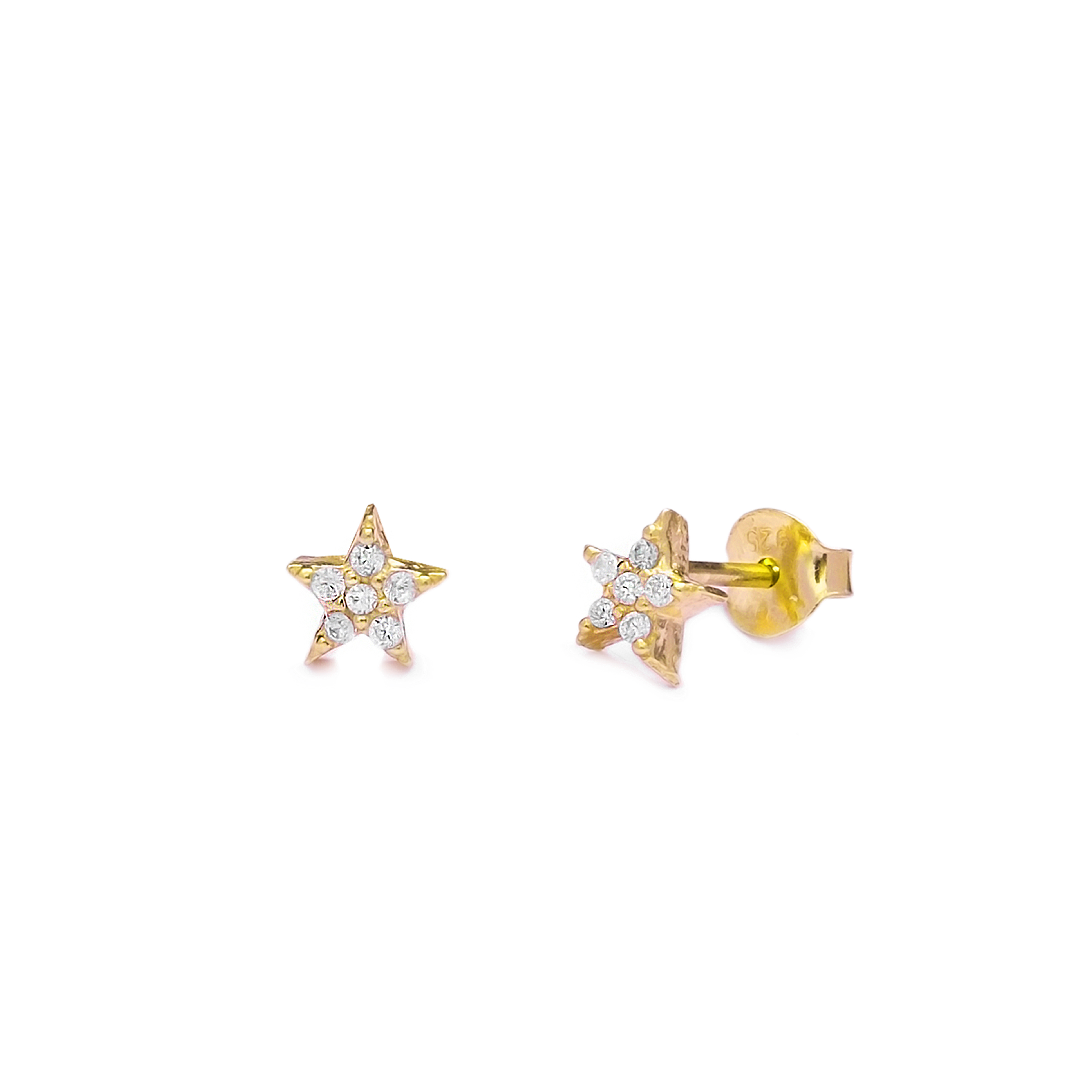 Single Star Earrings White - Yellow Gold