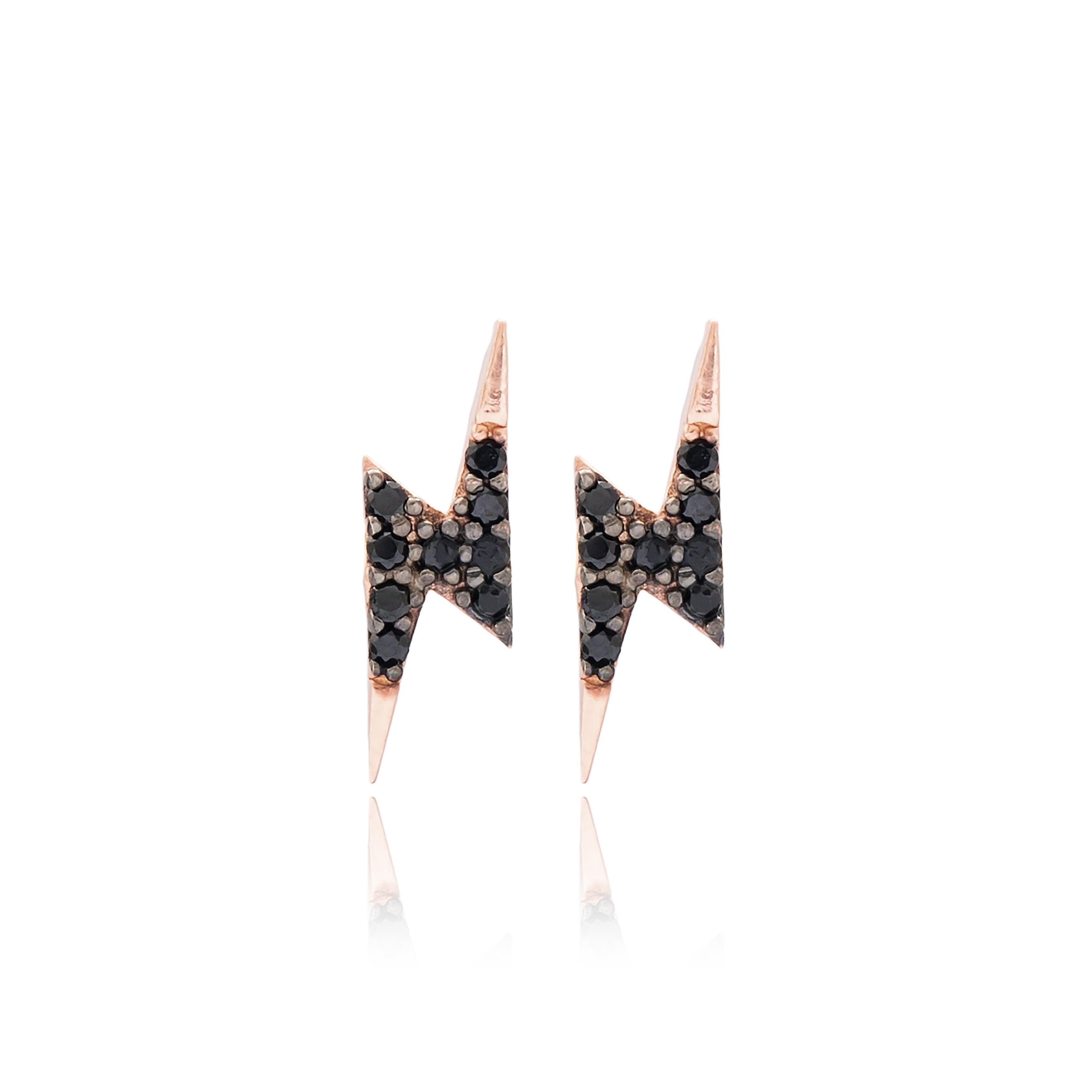 Lightning Earrings Black - Rose Gold