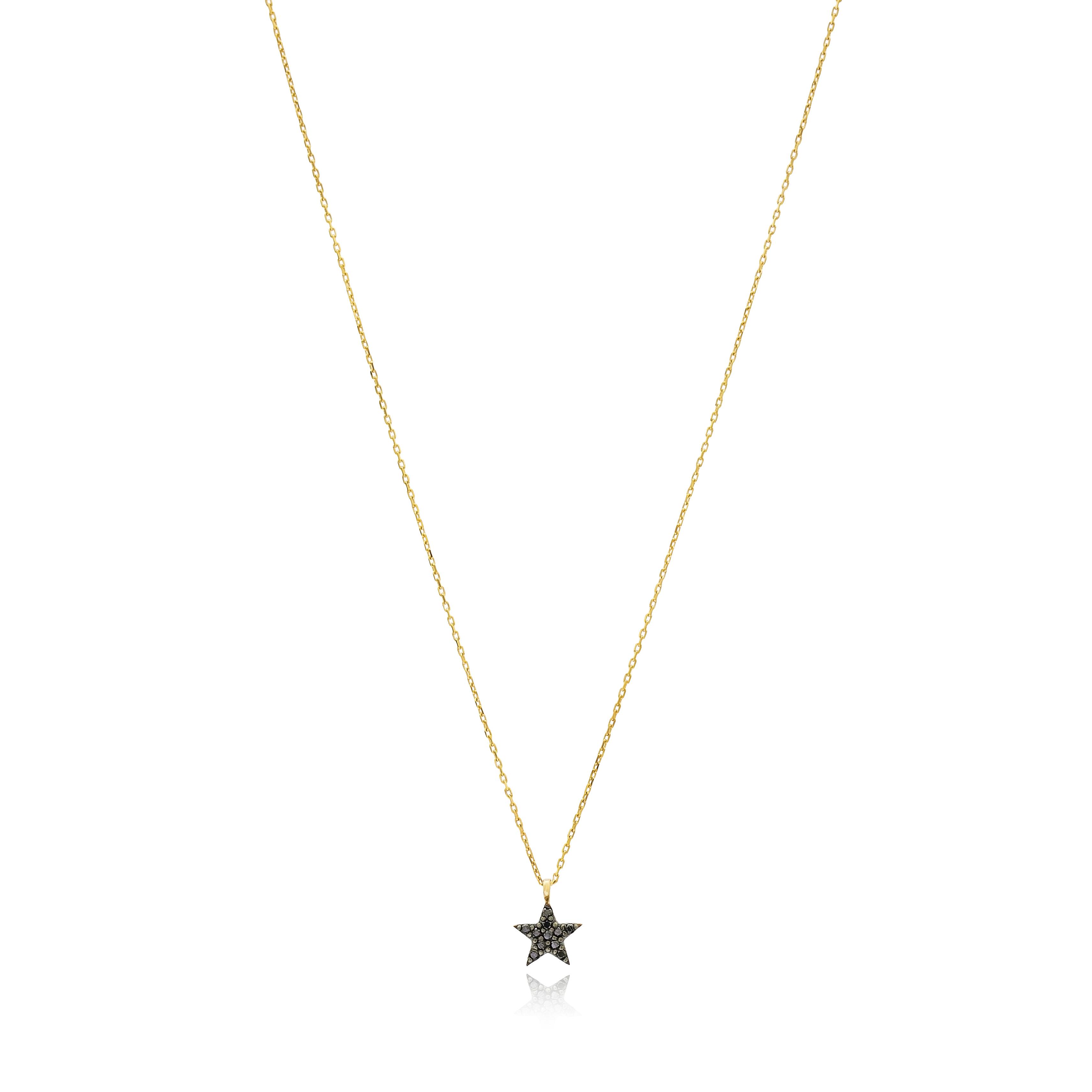 Silvie black star necklace