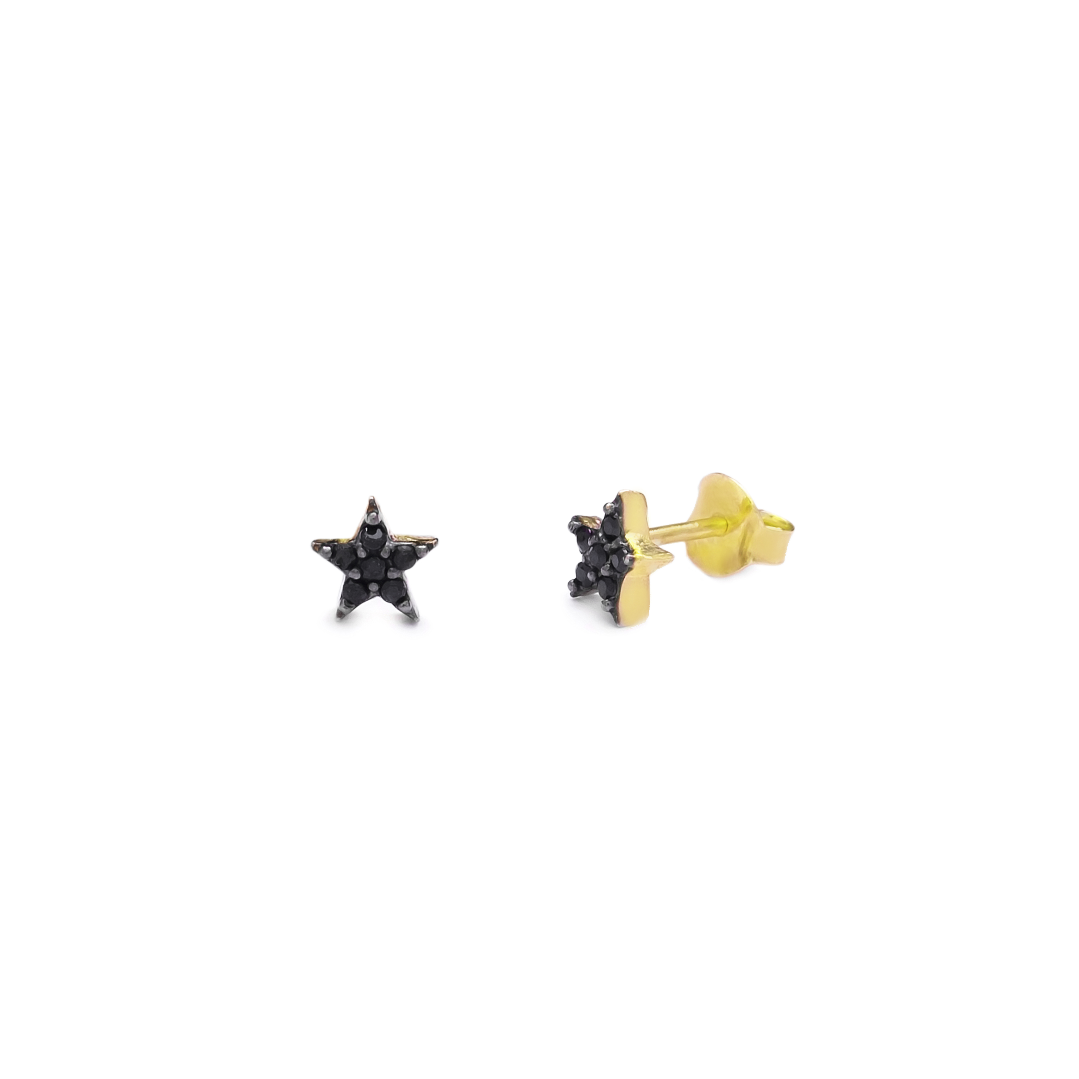 Single Star Earrings Black - Yellow Gold