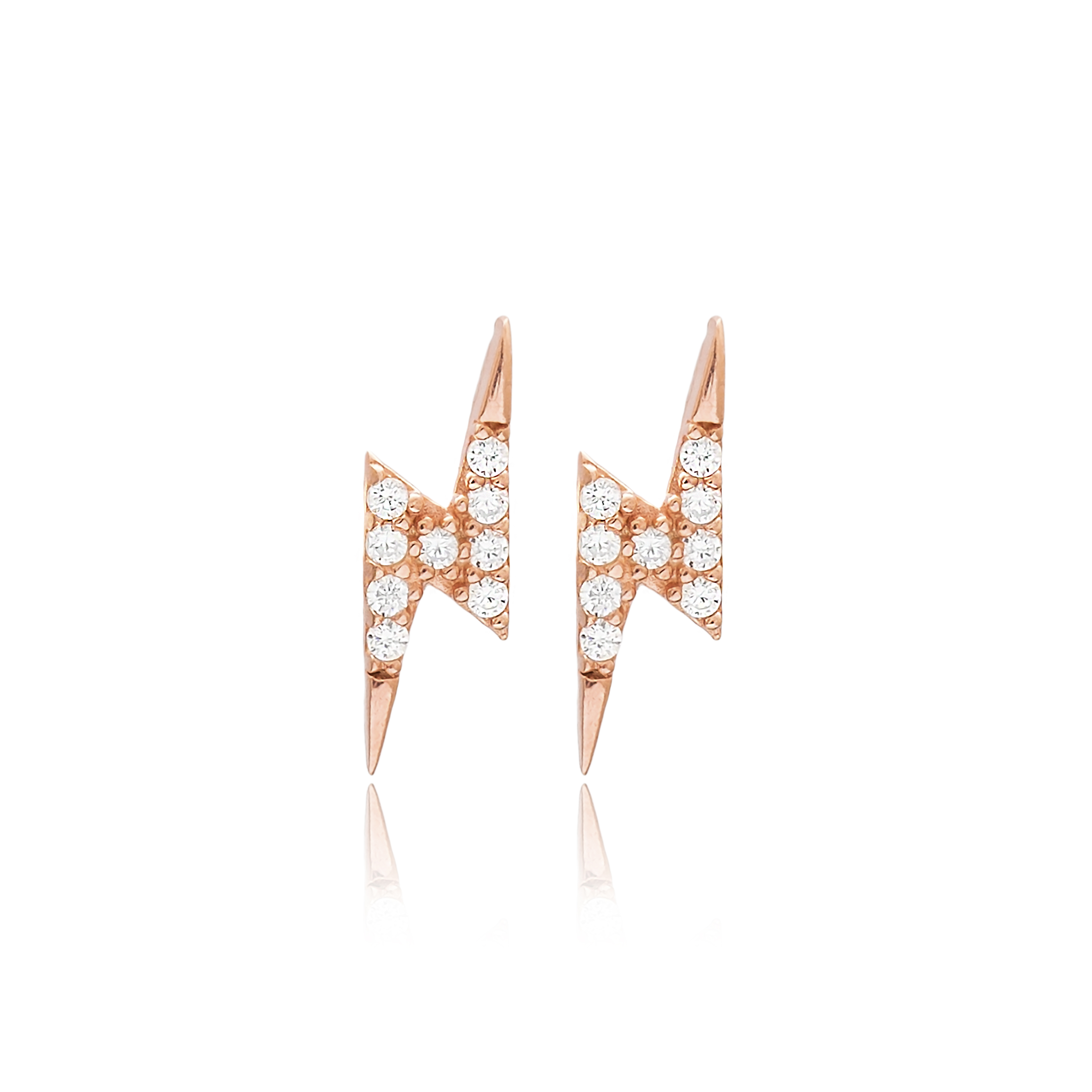 M&M Lightning Earrings White - Rose Gold
