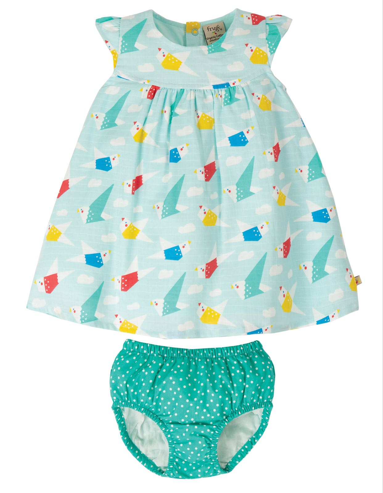 Frugi Dolly Muslin Outfit, Aqua Origami Flight