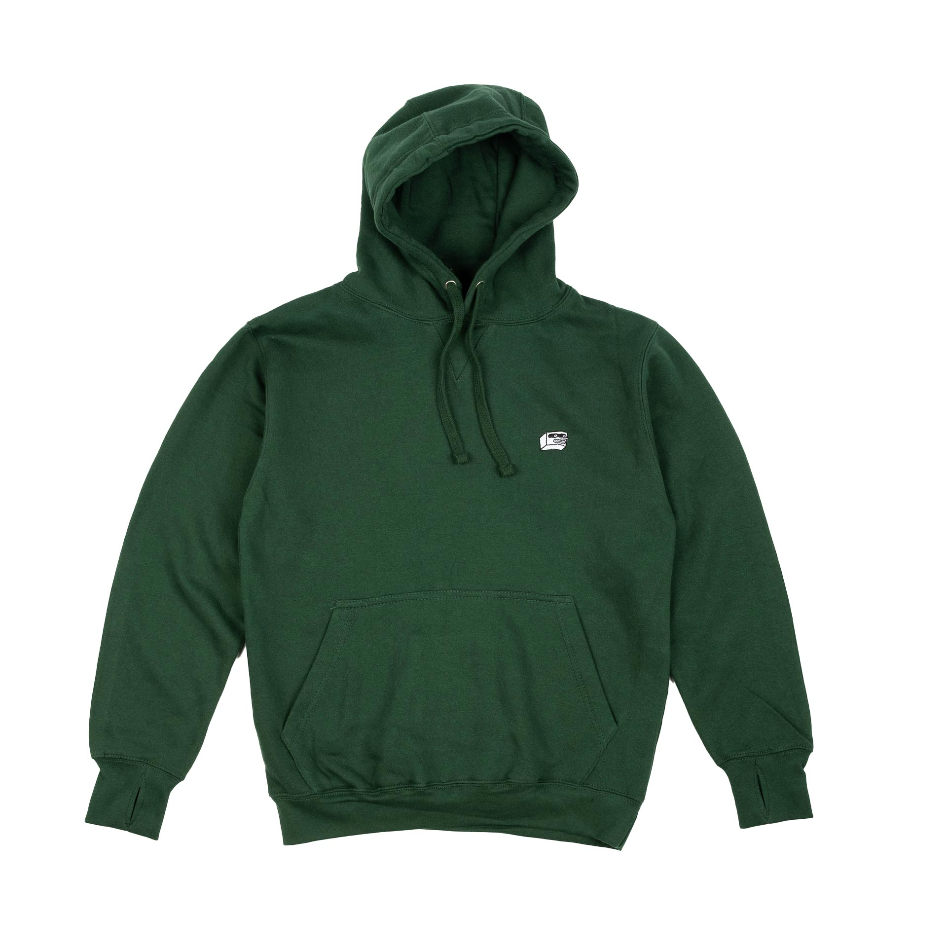 Dorkzone Embroided Boxhead Hoodie Bottle Green