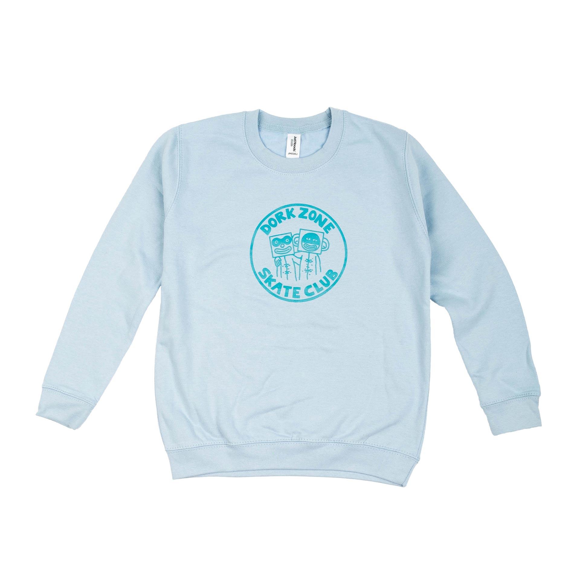 Dorkzone Skate Club Kids Sweatshirt Sky Blue