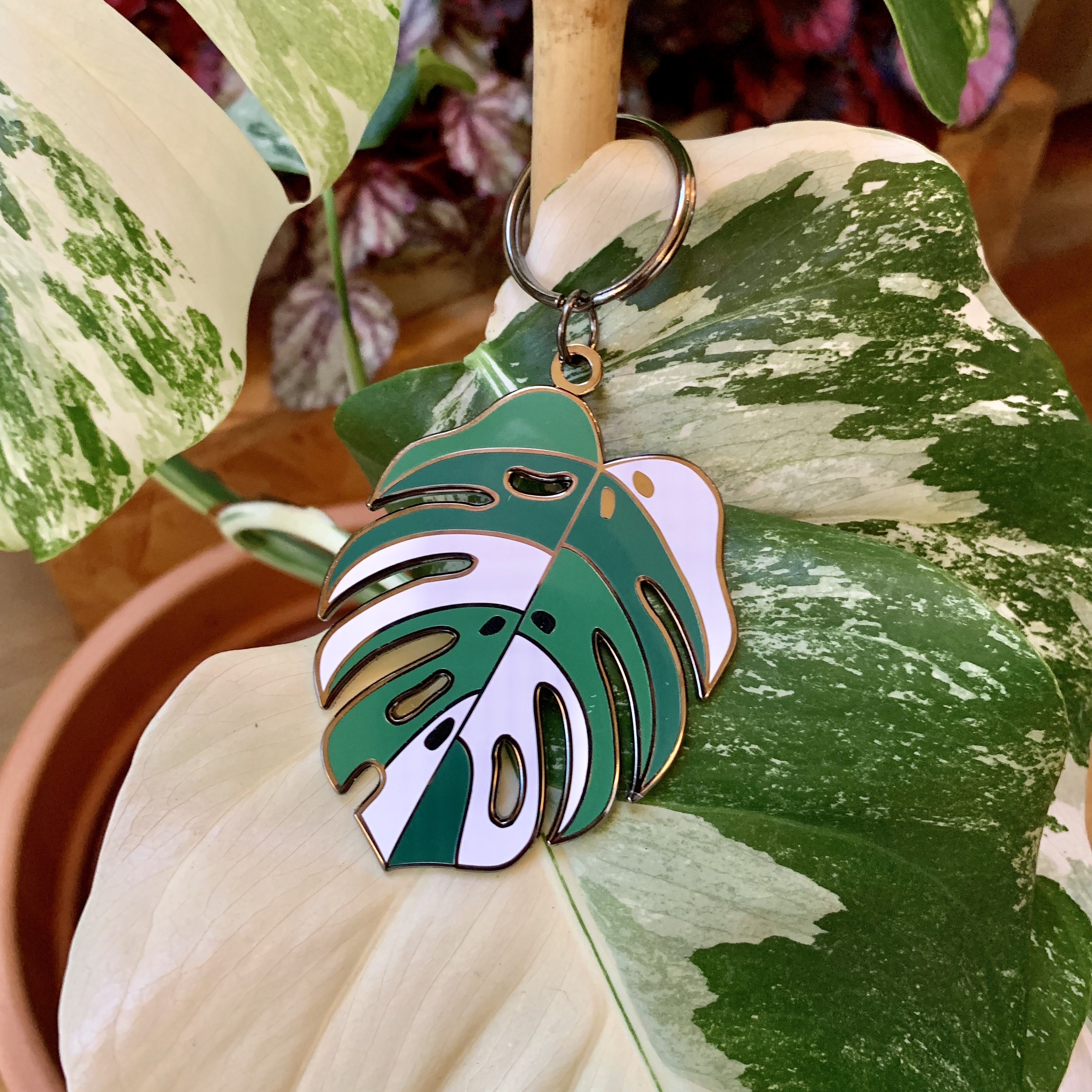 Variegated Monstera Key ring