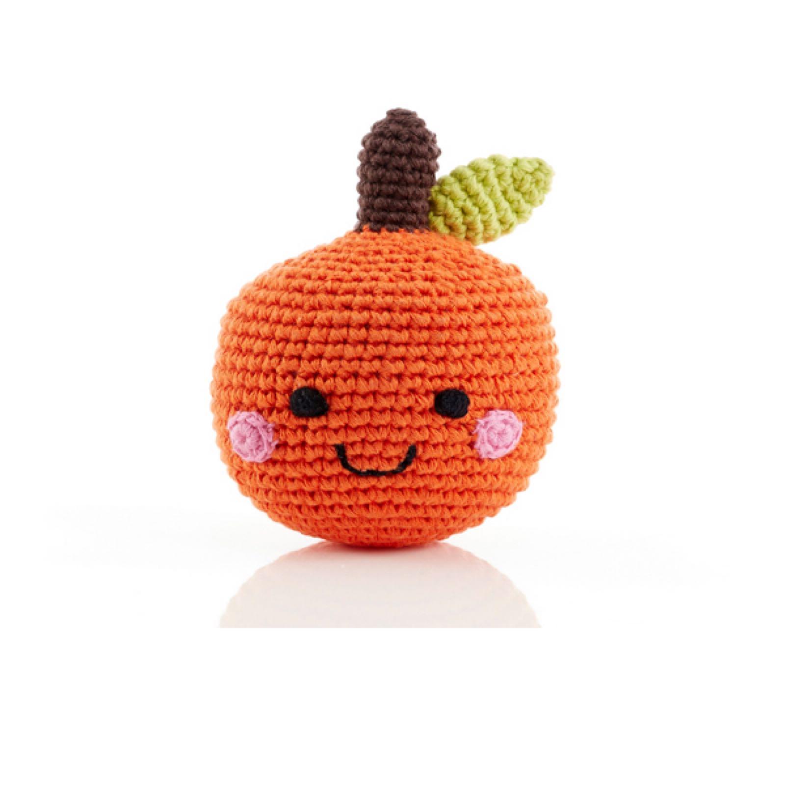 Pebble - Crochet cotton rattle - Orange