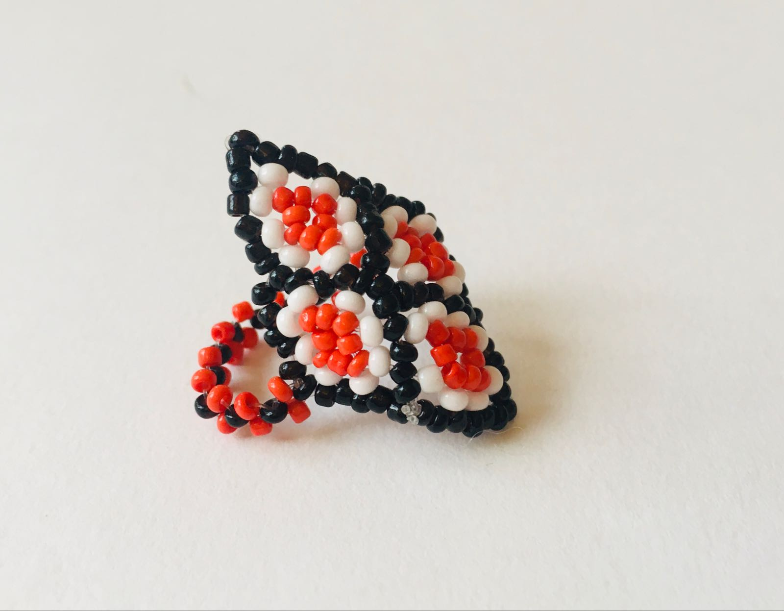 Kaxinawa People: Black, Red & White Beaded Ring/size 11W