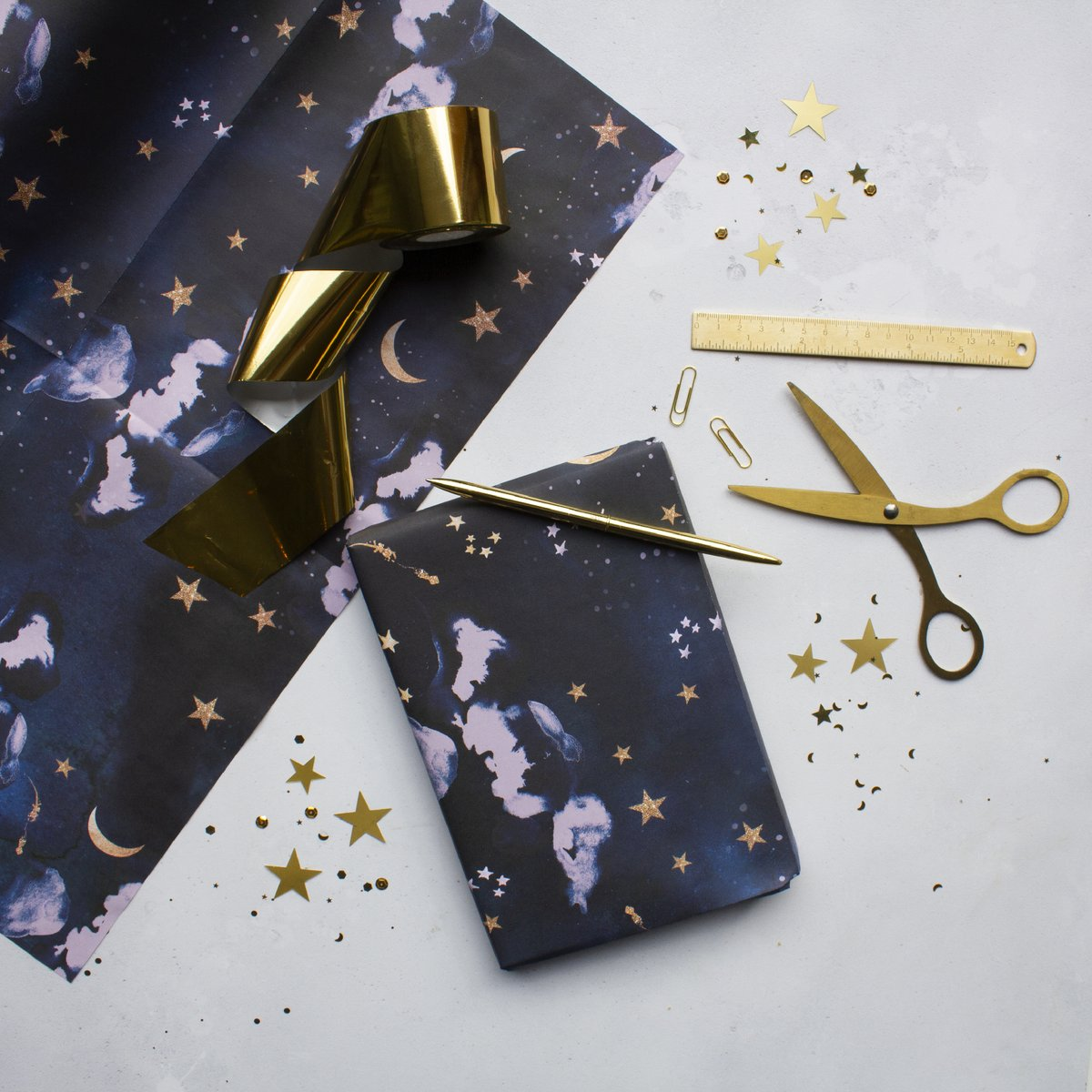 Eco Friendly Celestial Stardust Wrapping Paper