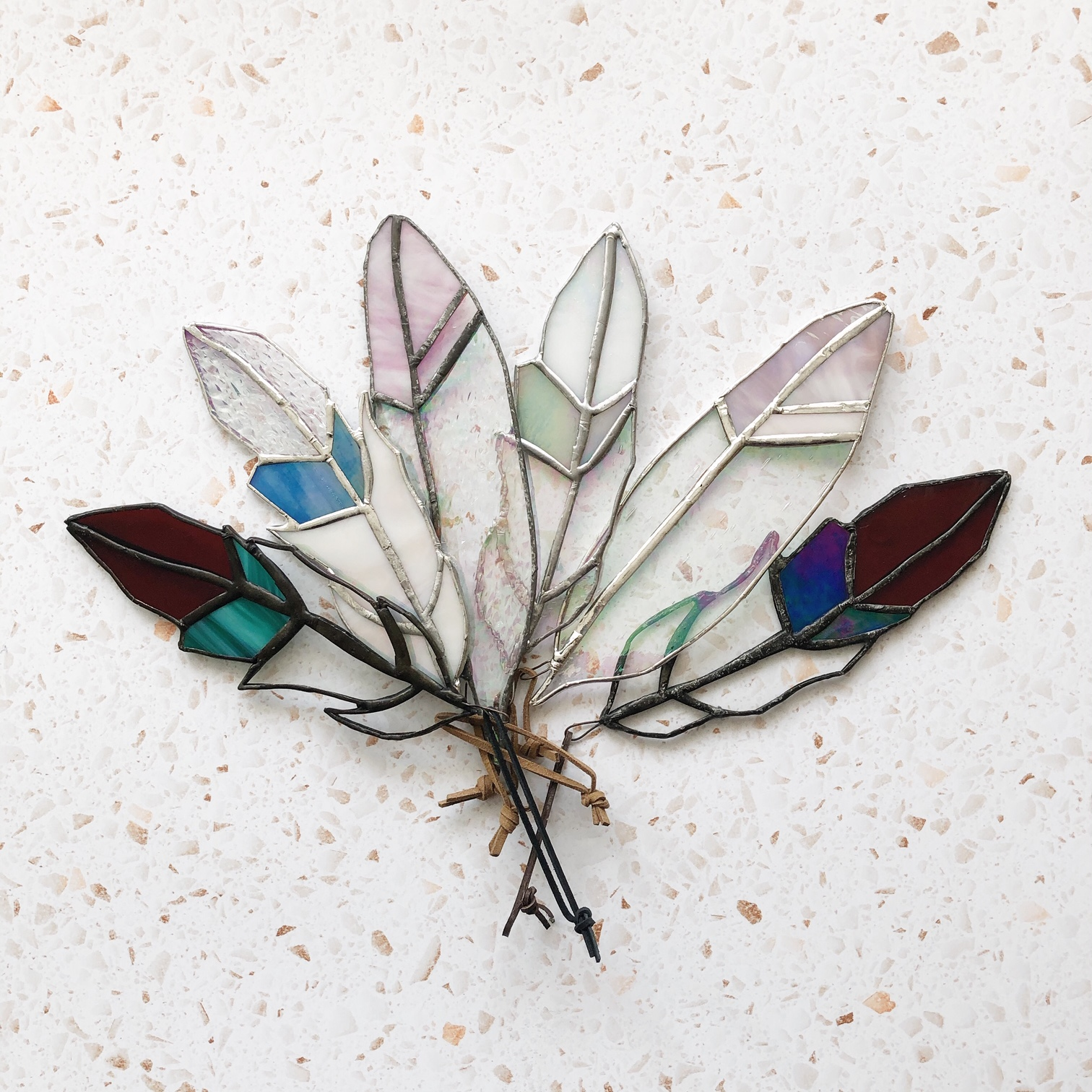 Recycled Glass Feather Suncatcher