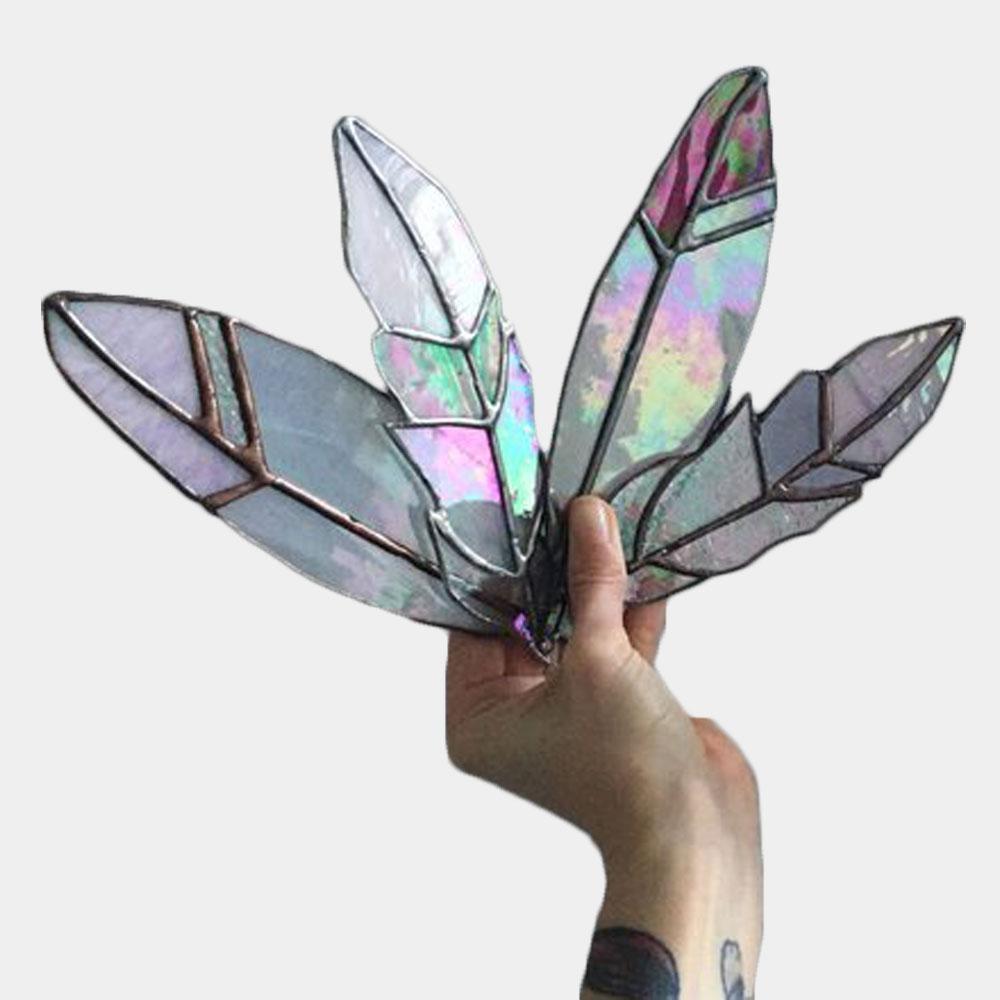 Pastel Glass Feather Suncatcher