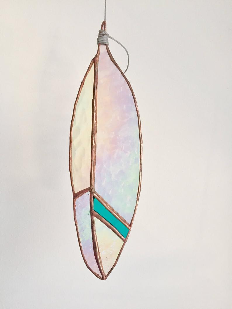 Iridescent Glass Feather Suncatcher