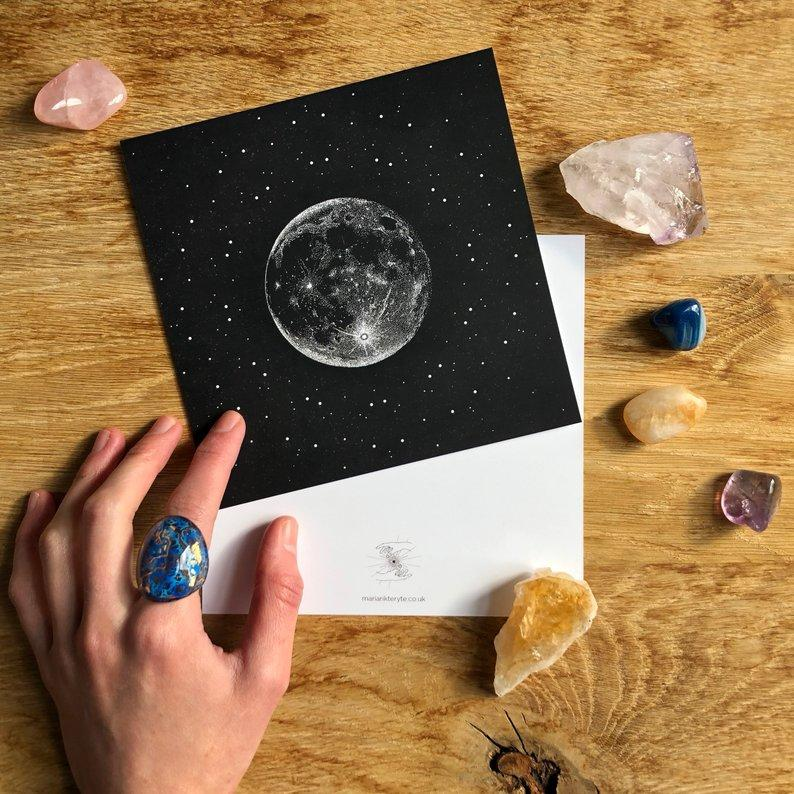 Silver Moon Greeting Card