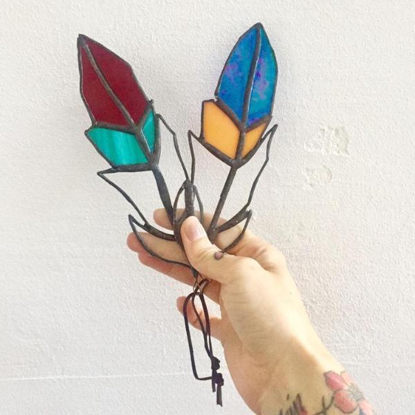 Colourful Glass Feather Suncatcher