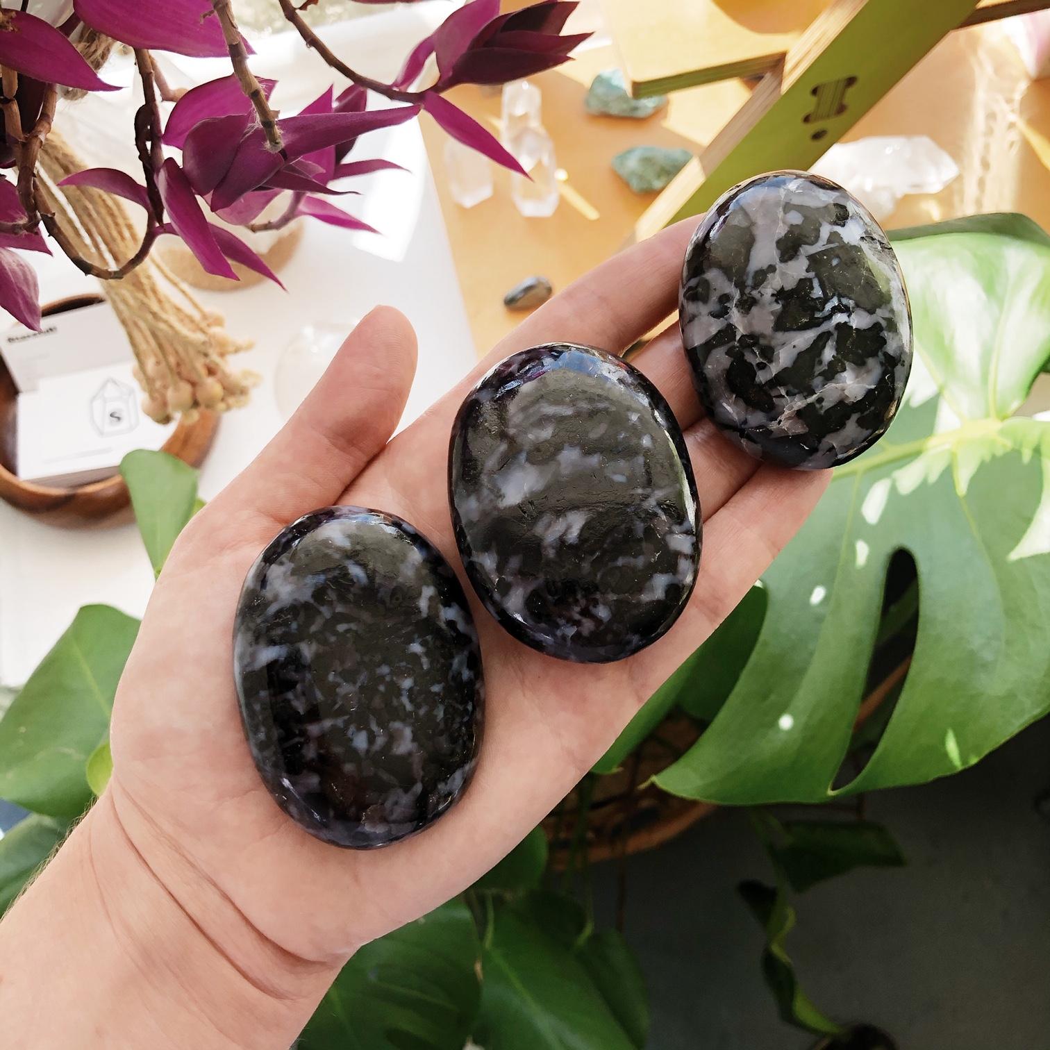 Indigo Gabbro (AKA Mystic Merlinite) Palmstones