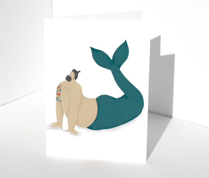 Sexy Merman Greeting Card