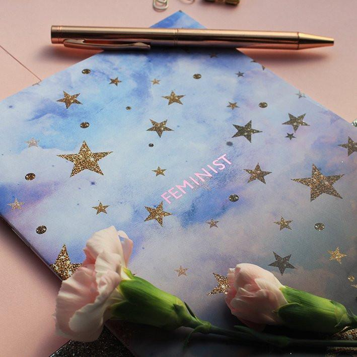 Feminist Cloudy Stars Notebook