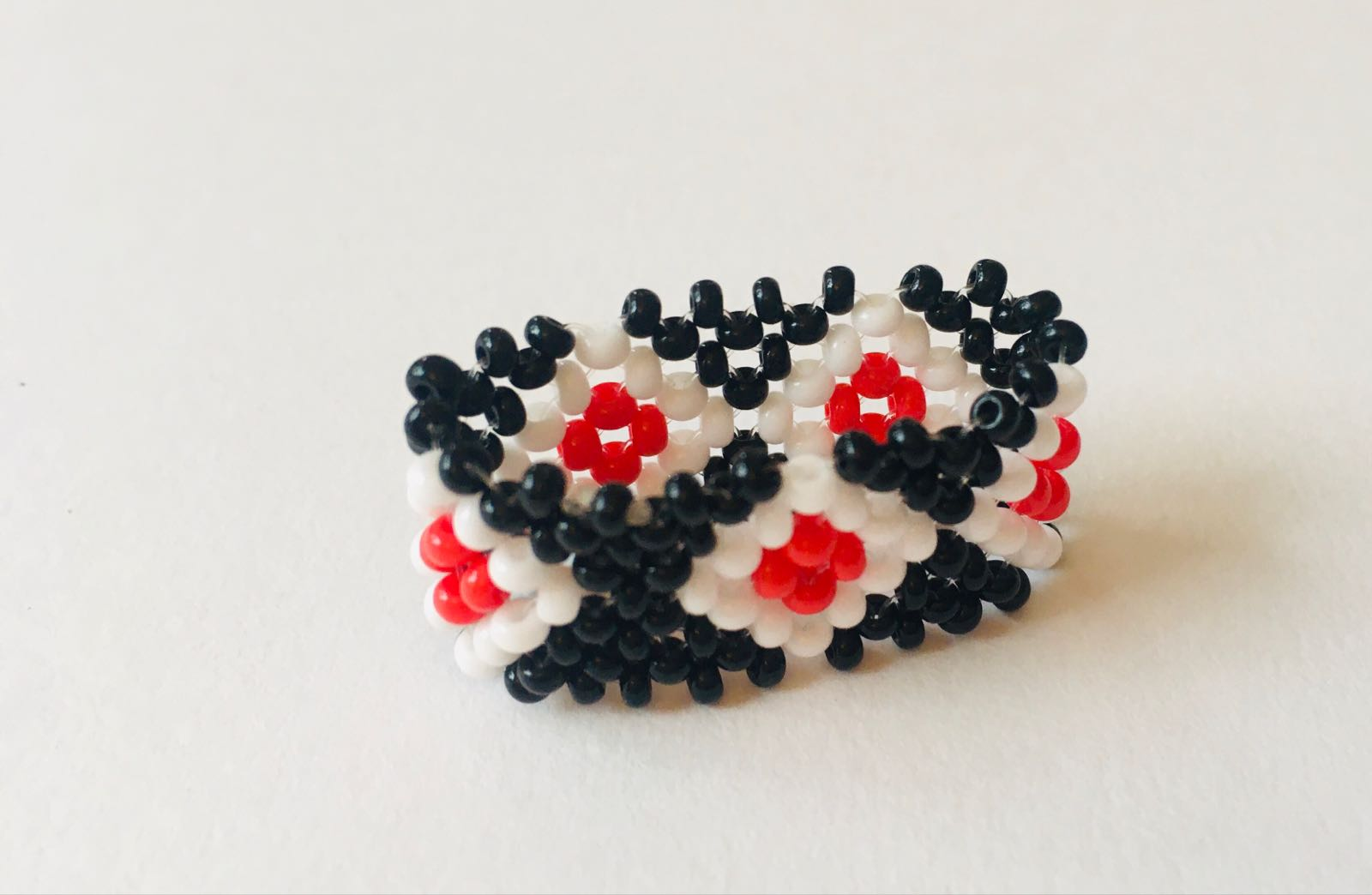 Kaxinawa People: Red, White and Black Beaded Ring/size 13Z+1